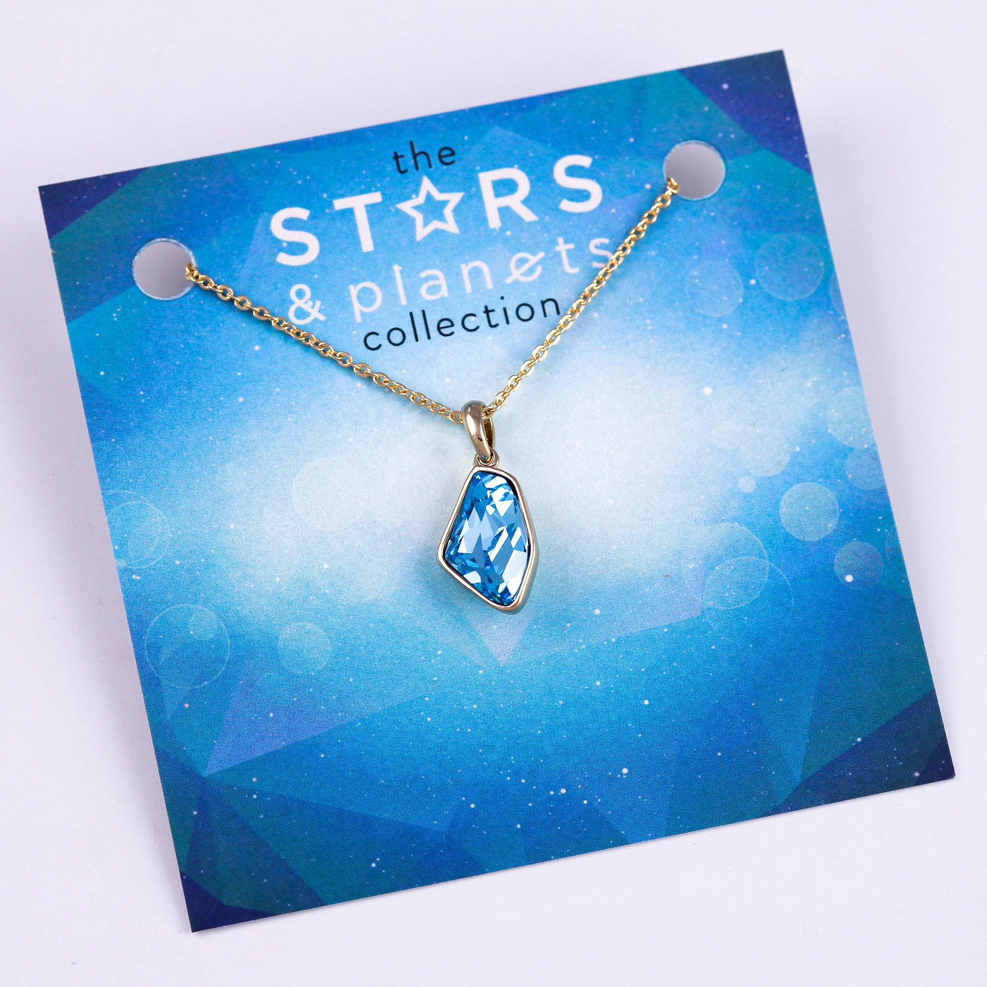 Gold Aquamarine Asteroid Necklace Stars & Planets Collection