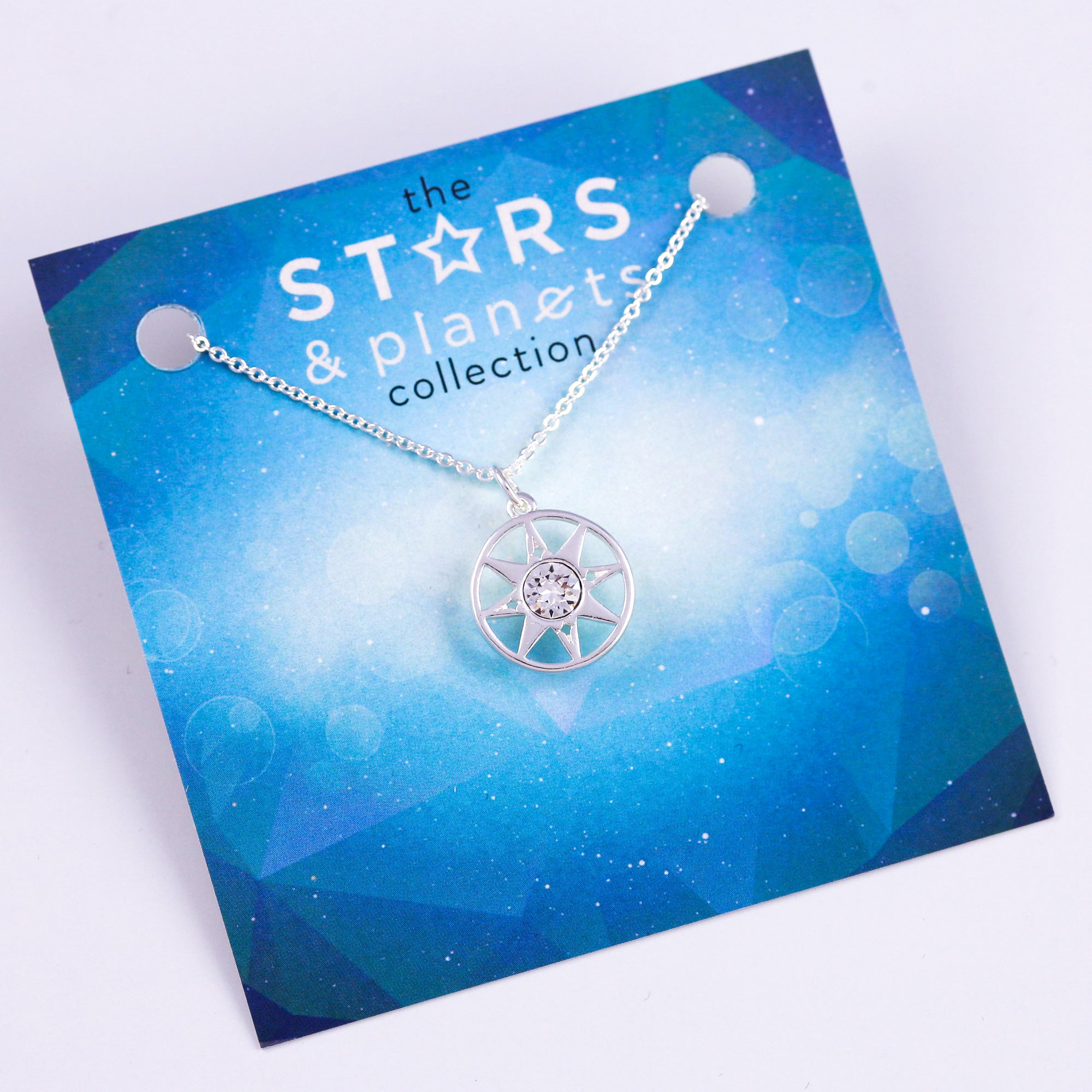 Silver Compass Necklace Stars & Planets Collection