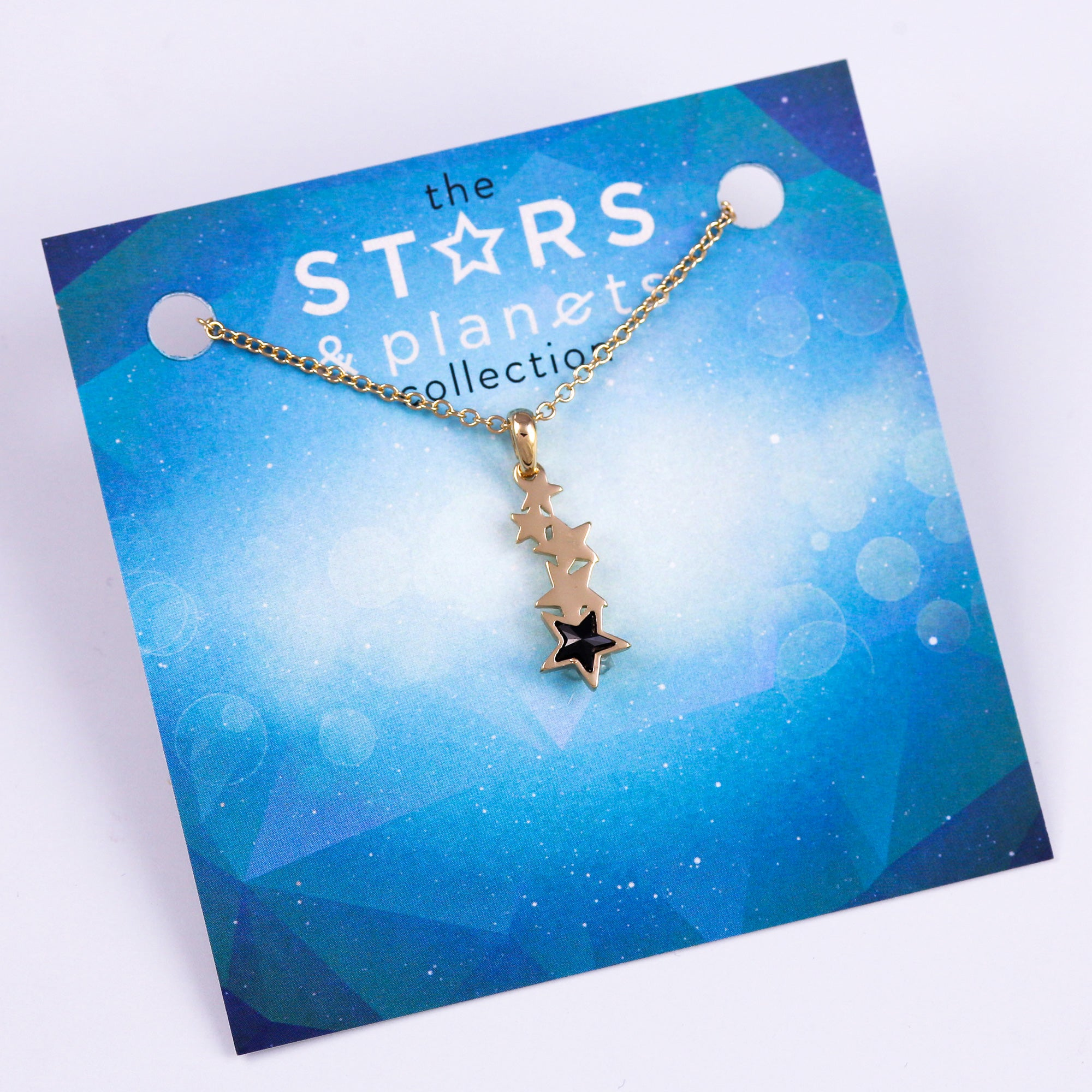 Gold and Black Shooting Star Necklace Stars & Planets Collection