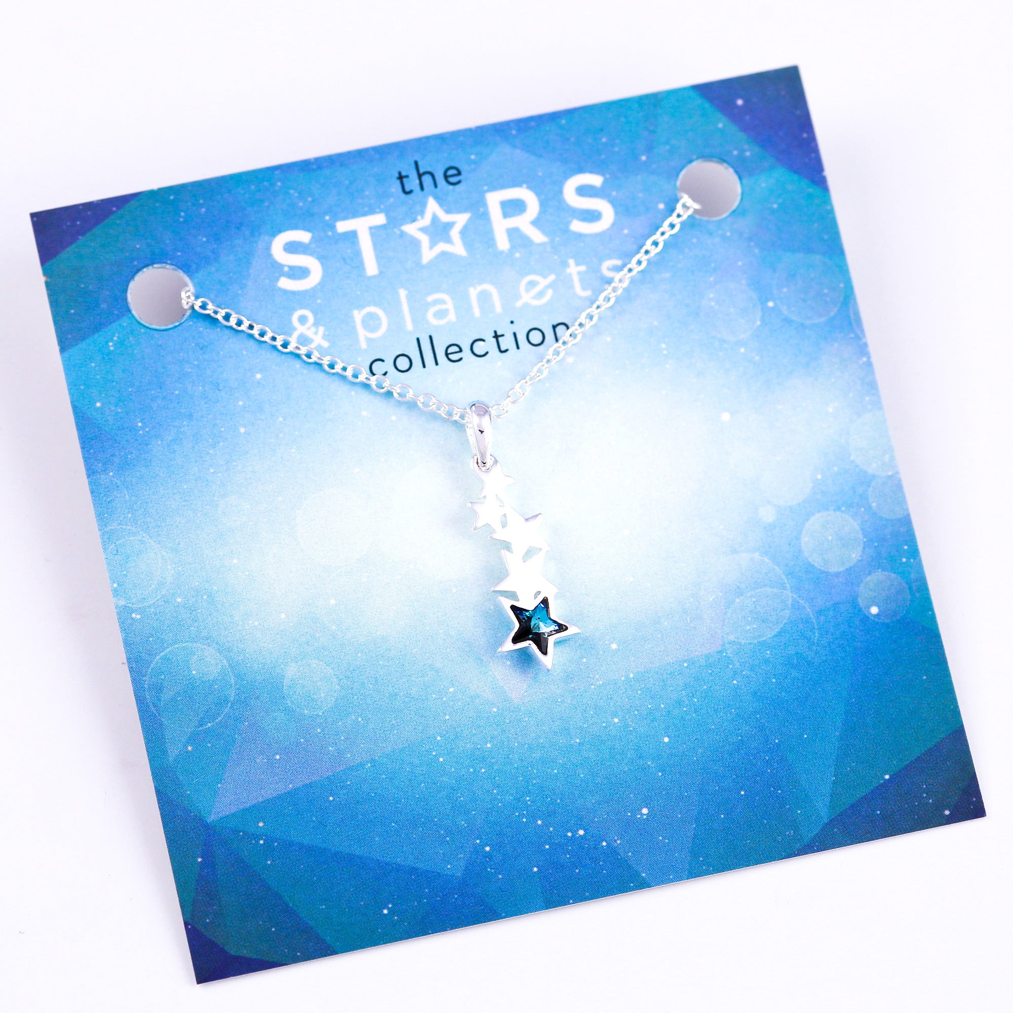 Silver and Blue Shooting Star Necklace Stars & Planets Collection