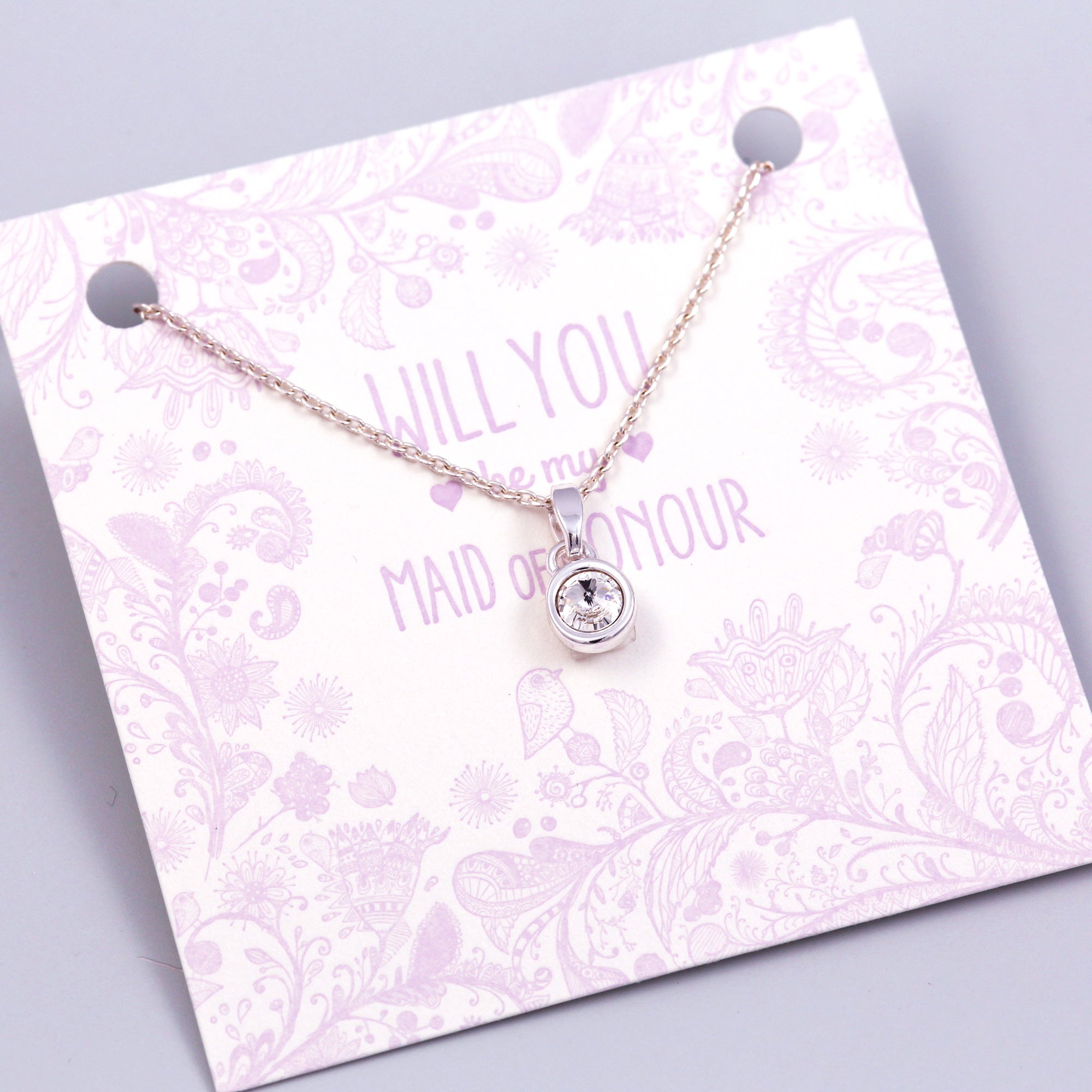 Will You Be My Maid of Honour Crystal Necklace