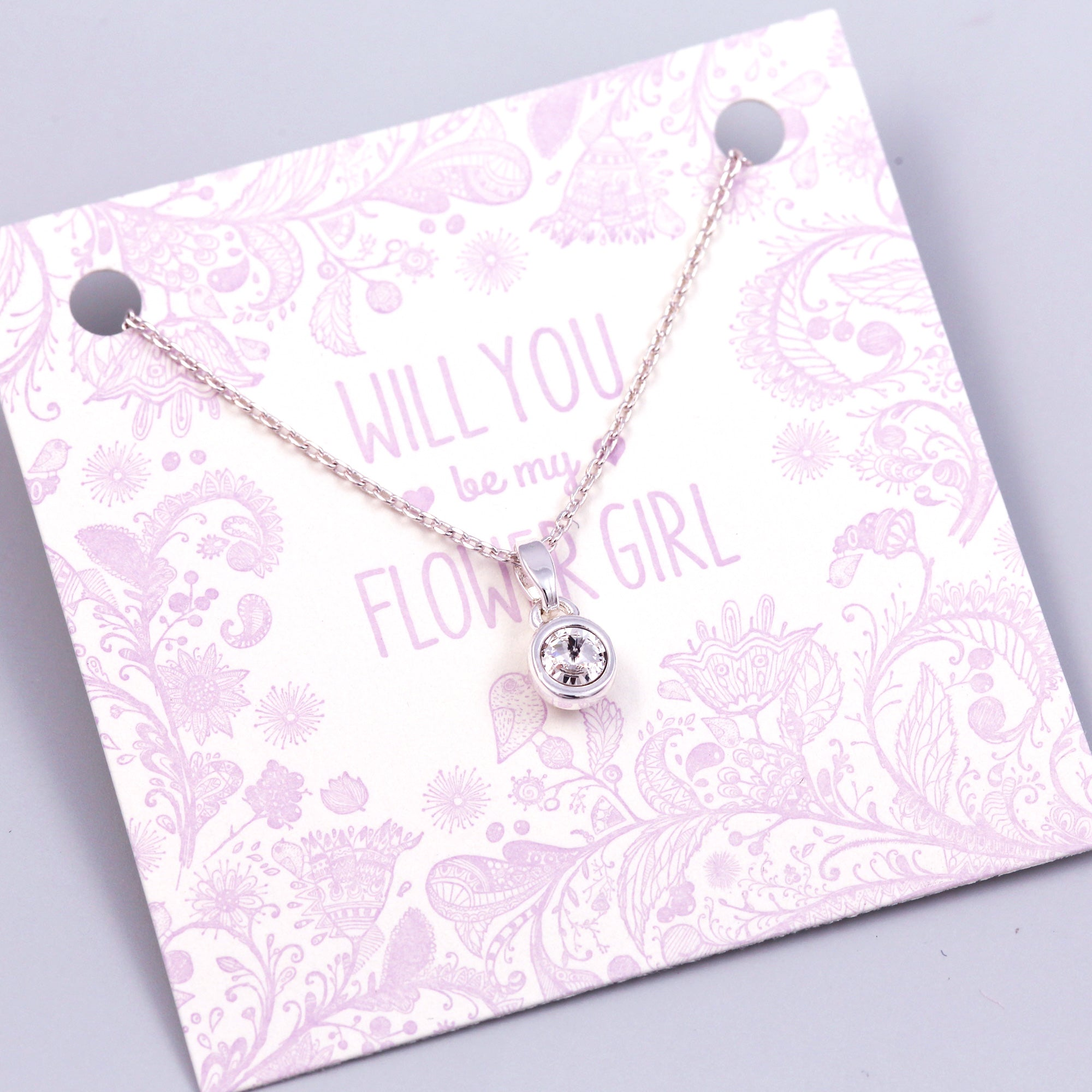 Will You Be My Flower Girl Crystal Necklace