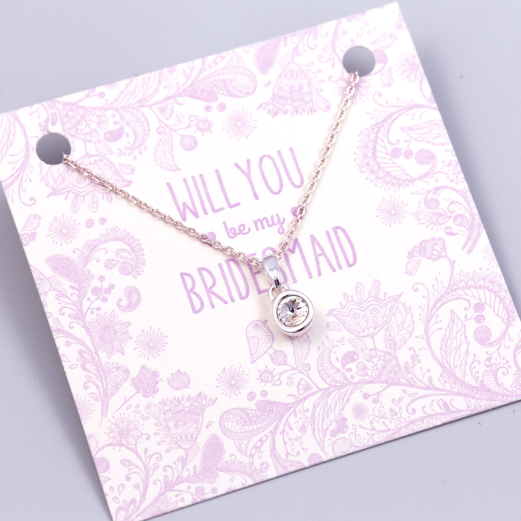 Will You Be My Bridesmaid Crystal Necklace