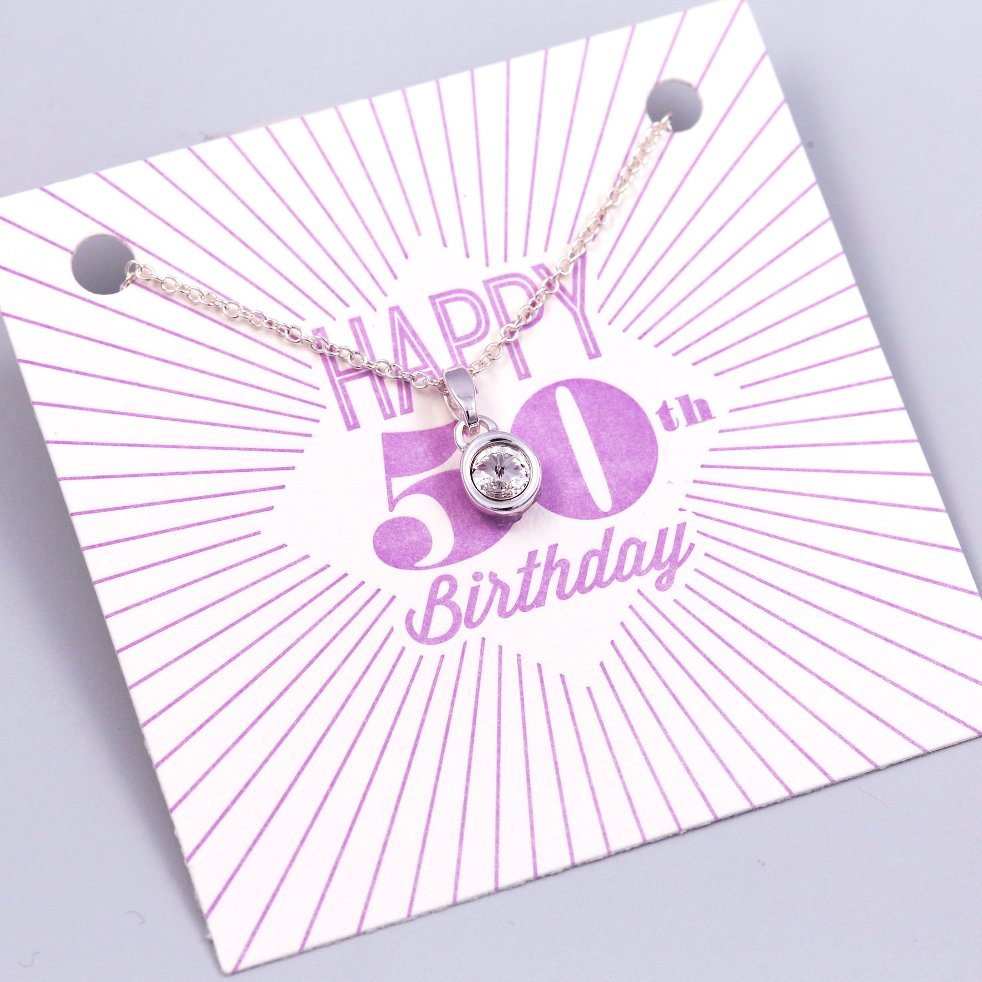 Happy 50th Birthday Gemstone Necklace