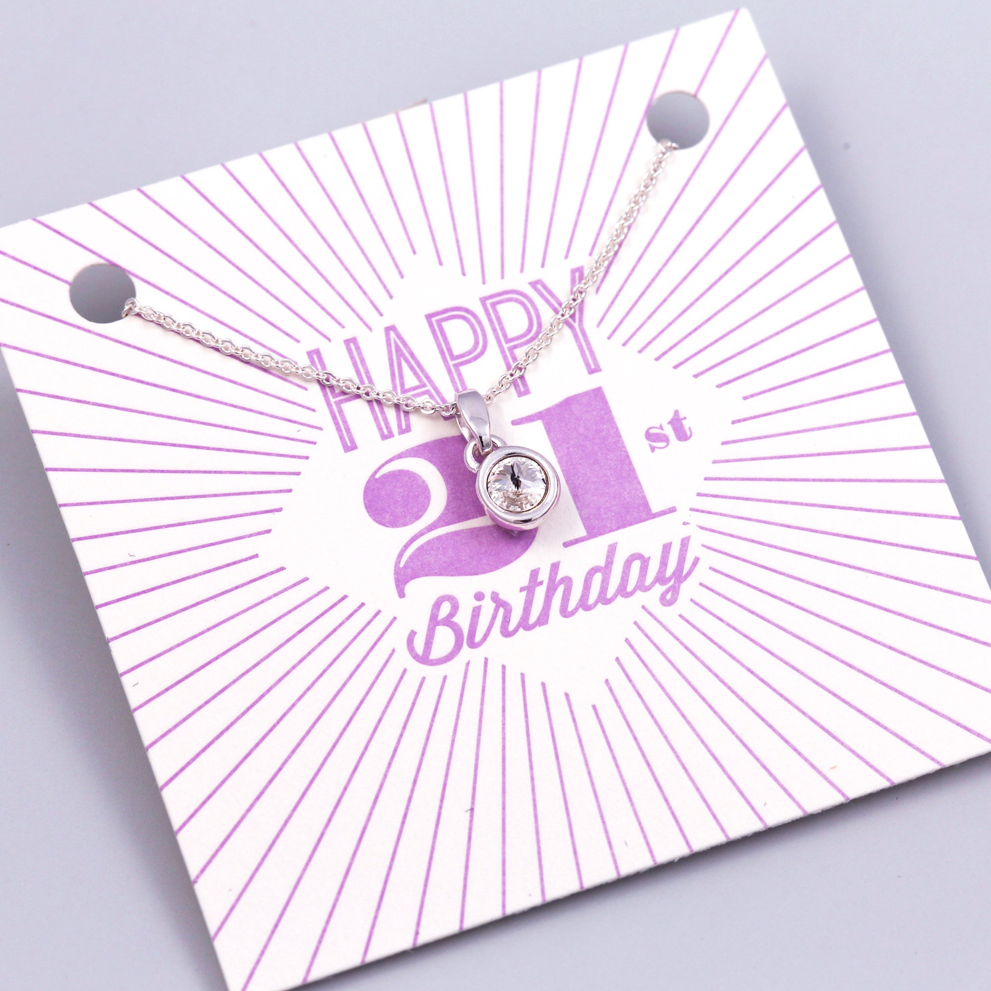 Happy 21st Birthday Gemstone Necklace