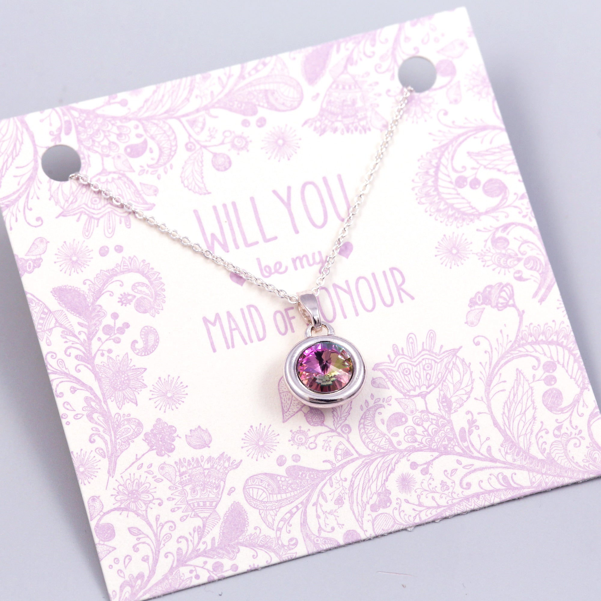 Will You Be My Maid of Honour Gemstone Necklace