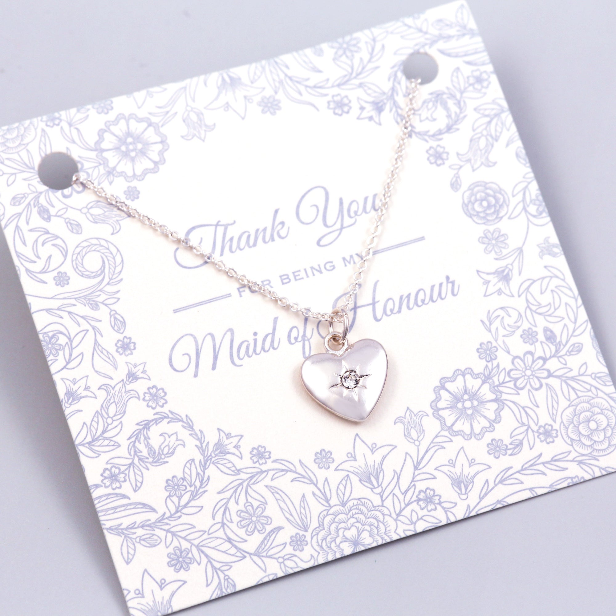 Thank You for Being My Maid of Honour Heart Necklace
