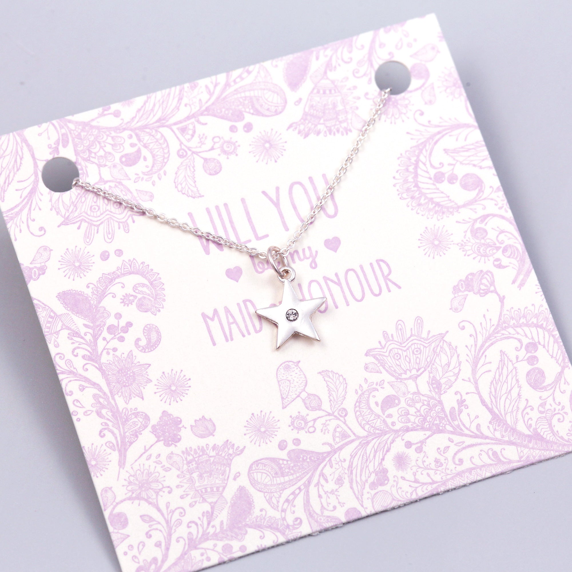 Will You Be My Maid of Honour Crystal Star Necklace