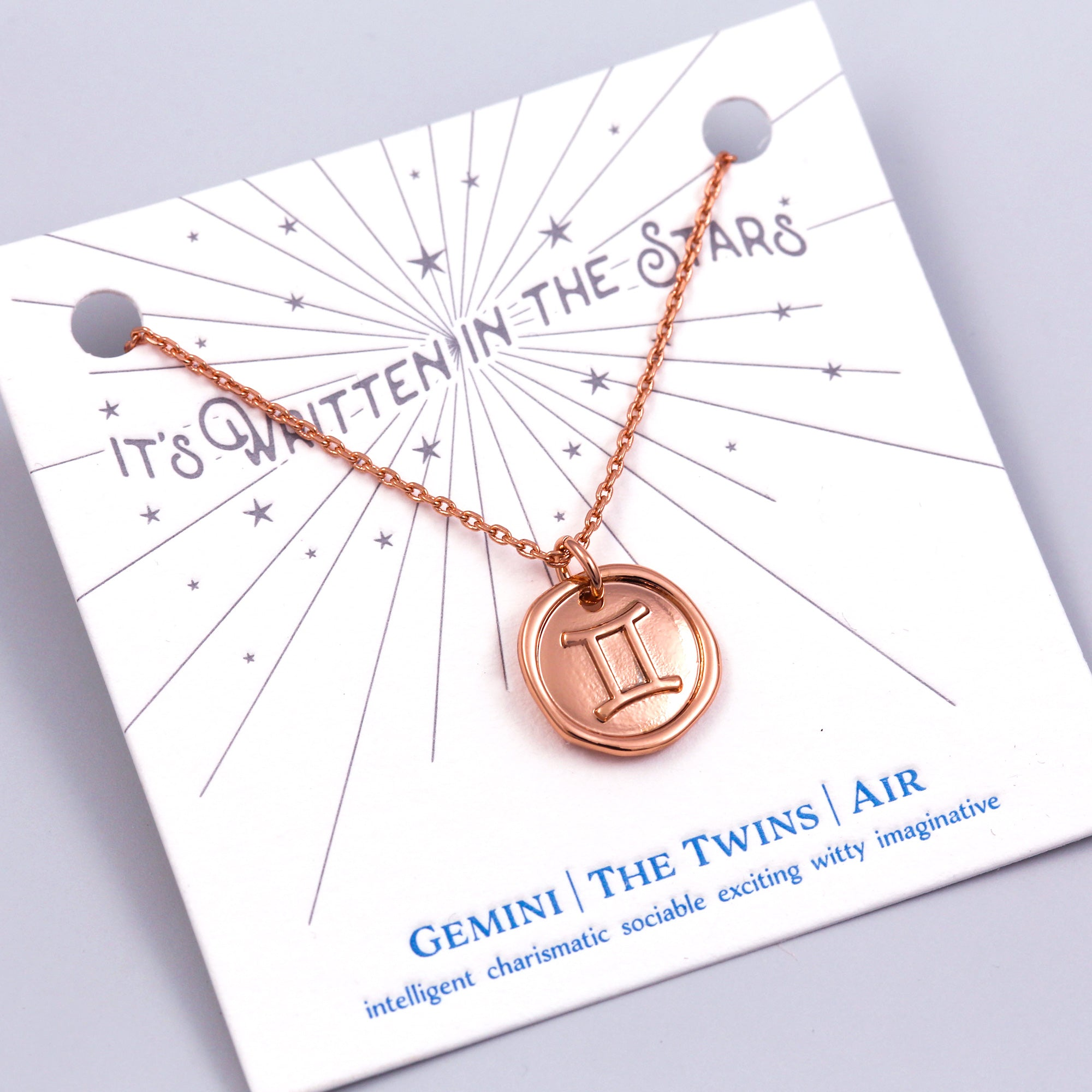 Rose Gold Gemini Necklace It's Written in the Stars