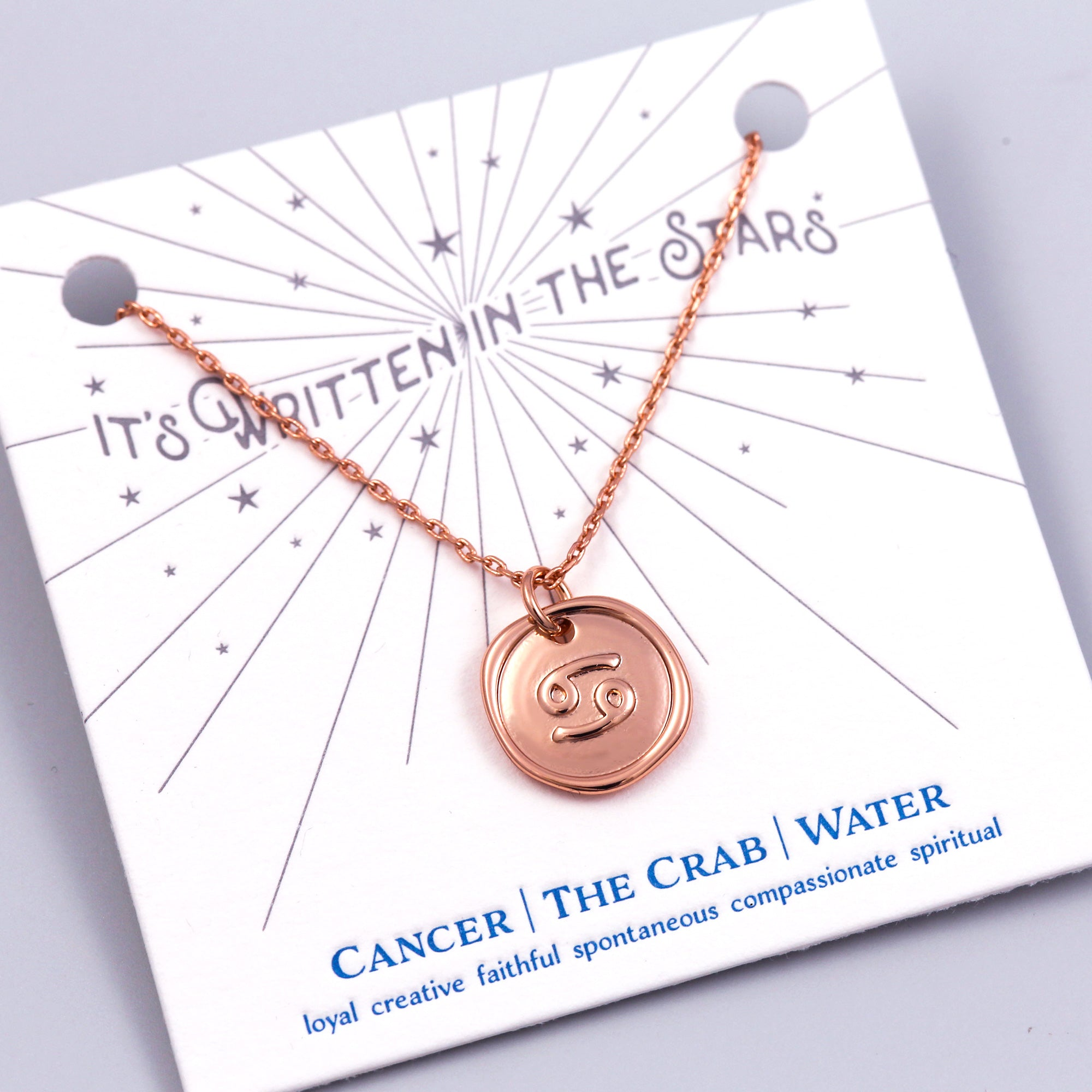 Rose Gold Cancer Necklace Its Written in the Stars