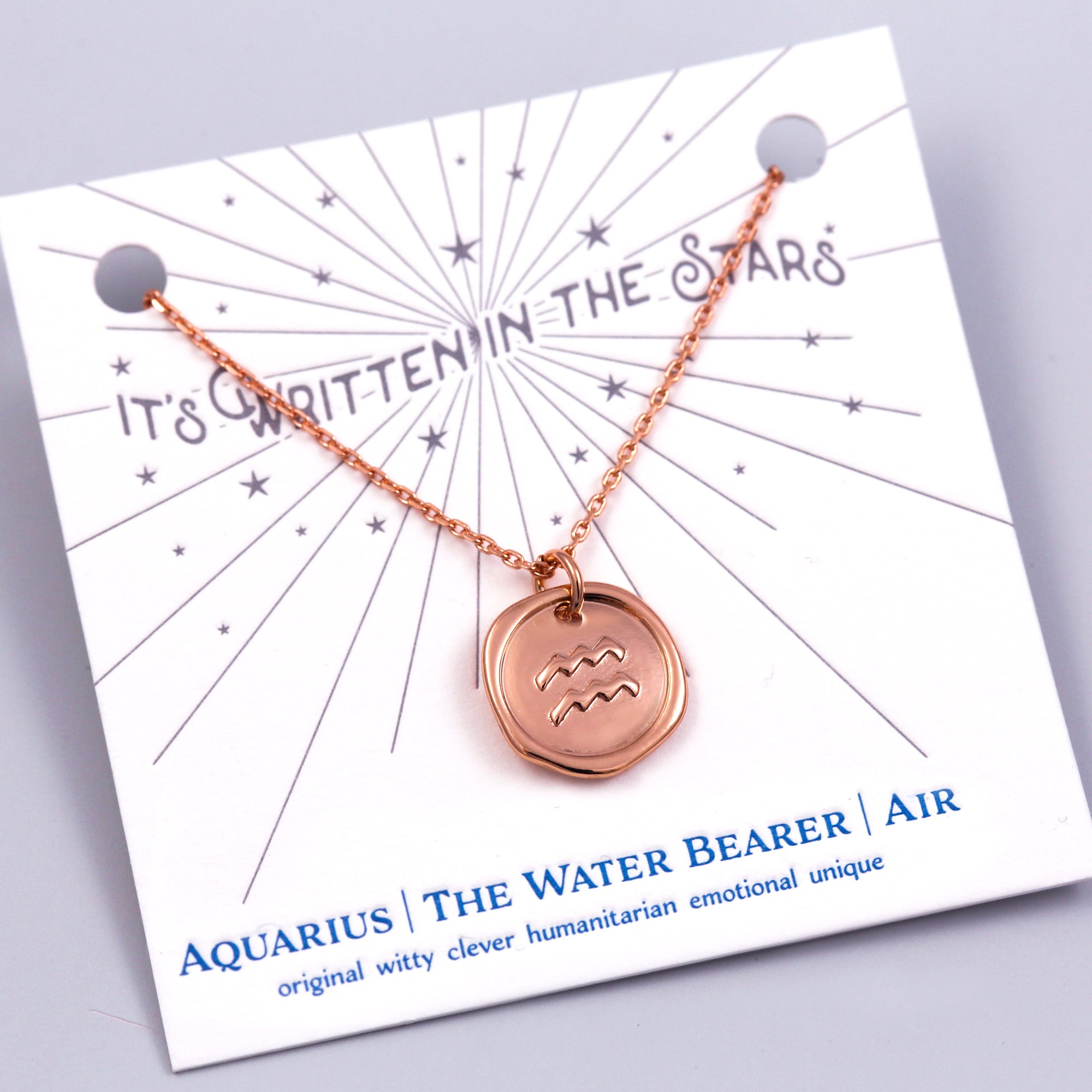 Rose Gold Aquarius Necklace Its Written in the Stars