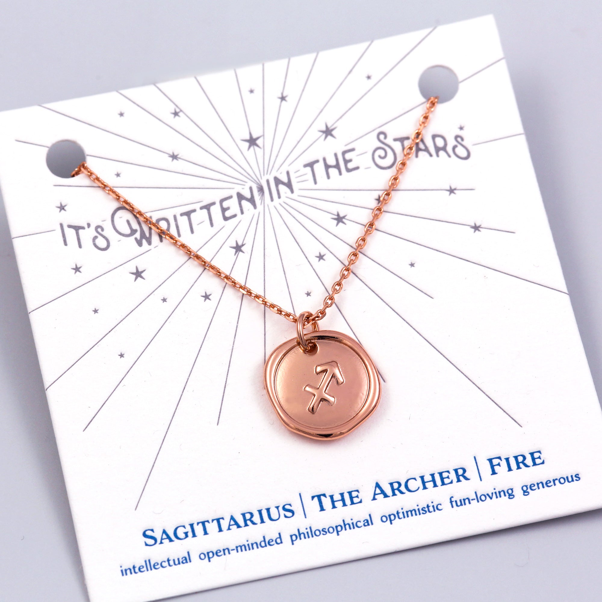Rose Gold Sagittarius Necklace It's Written in the Stars
