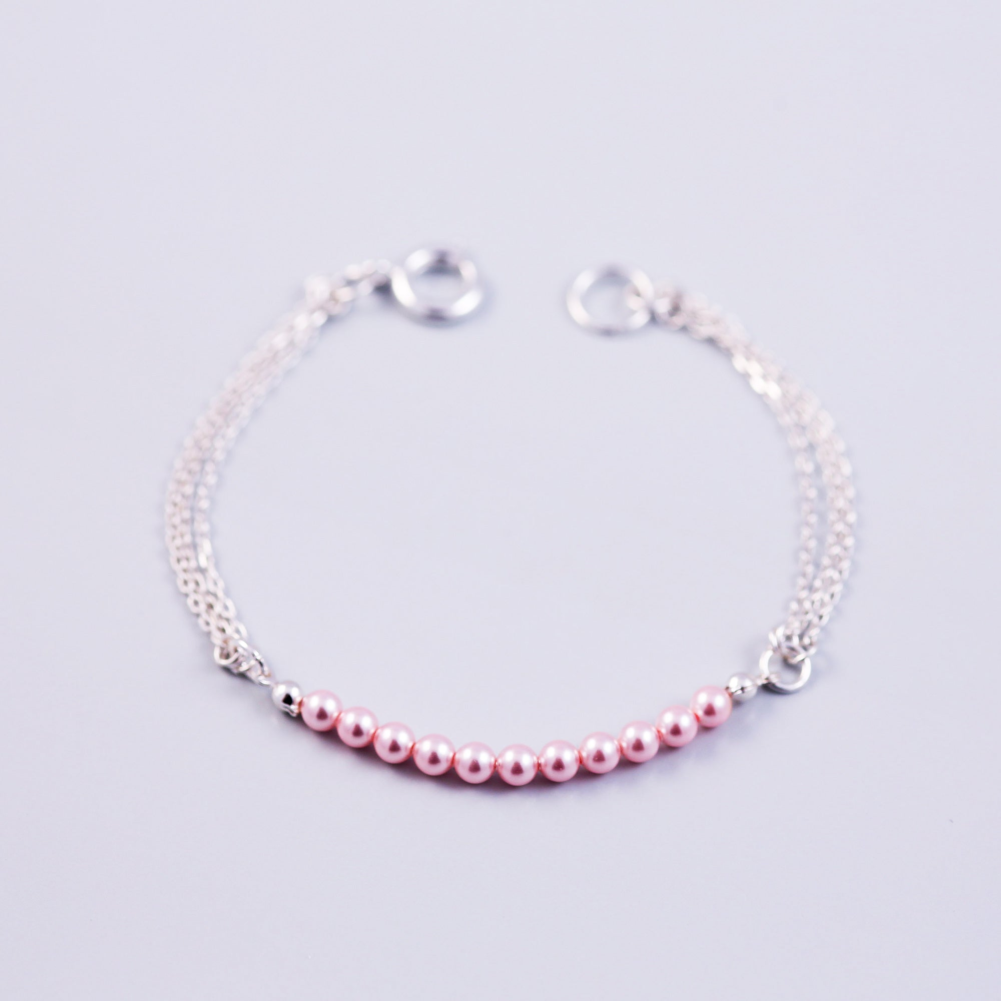Pearl Bead Bracelet | Cute Friendship Bracelets | Friendship Jewellery | Silver & Light Pink