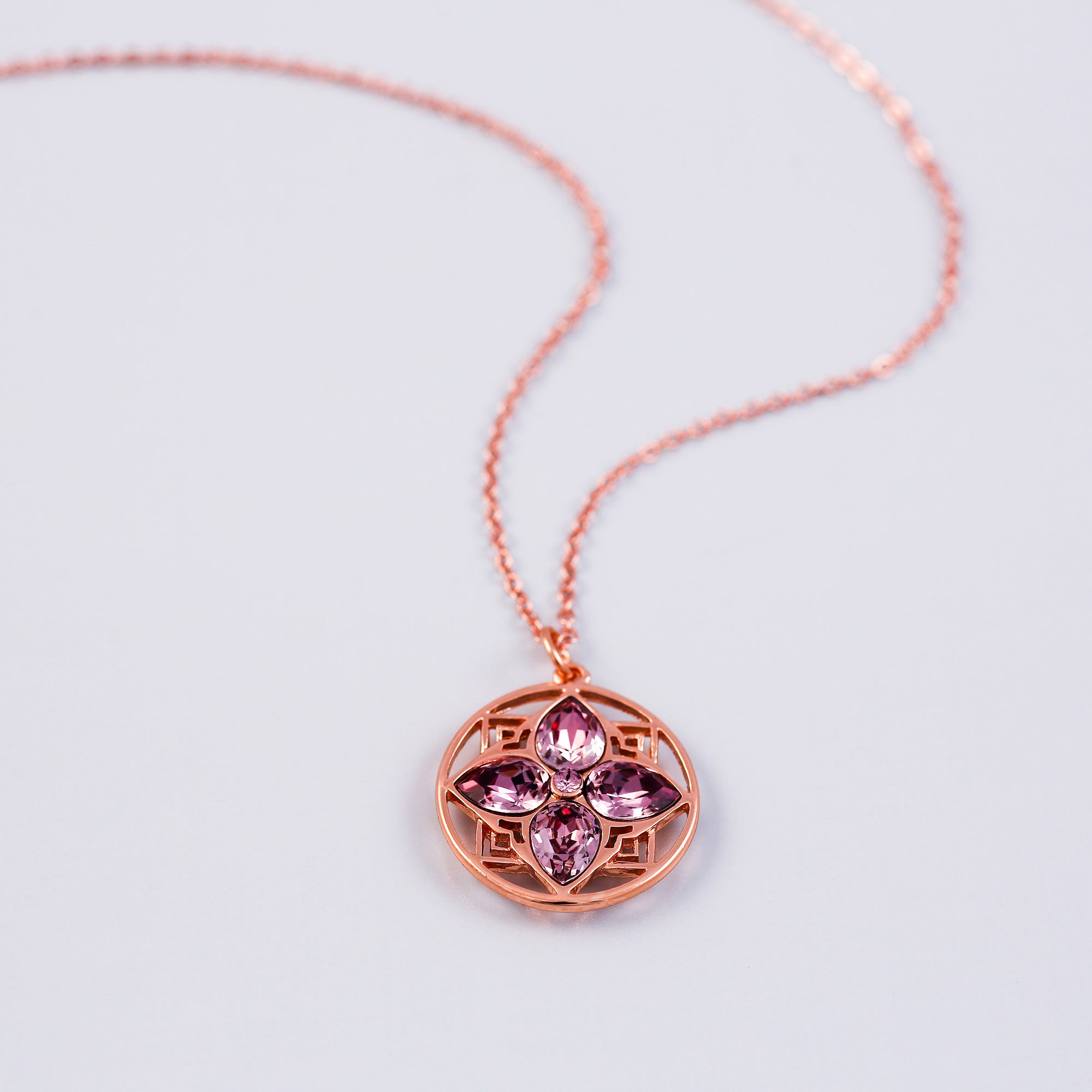 Rose Gold & Antique Pink Four Petal Necklace