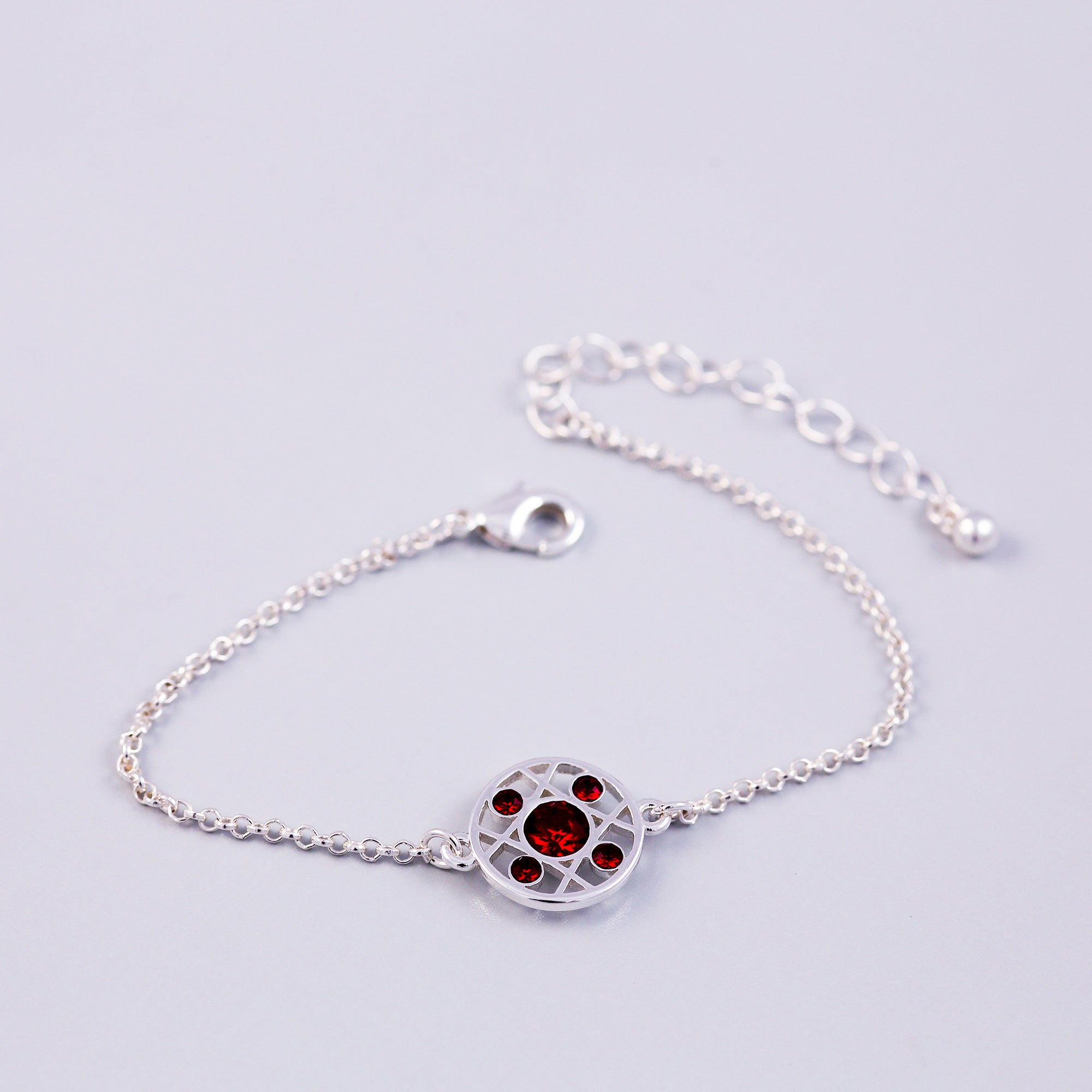 Silver Siam January Birthstone Hugs & Kisses Bracelet