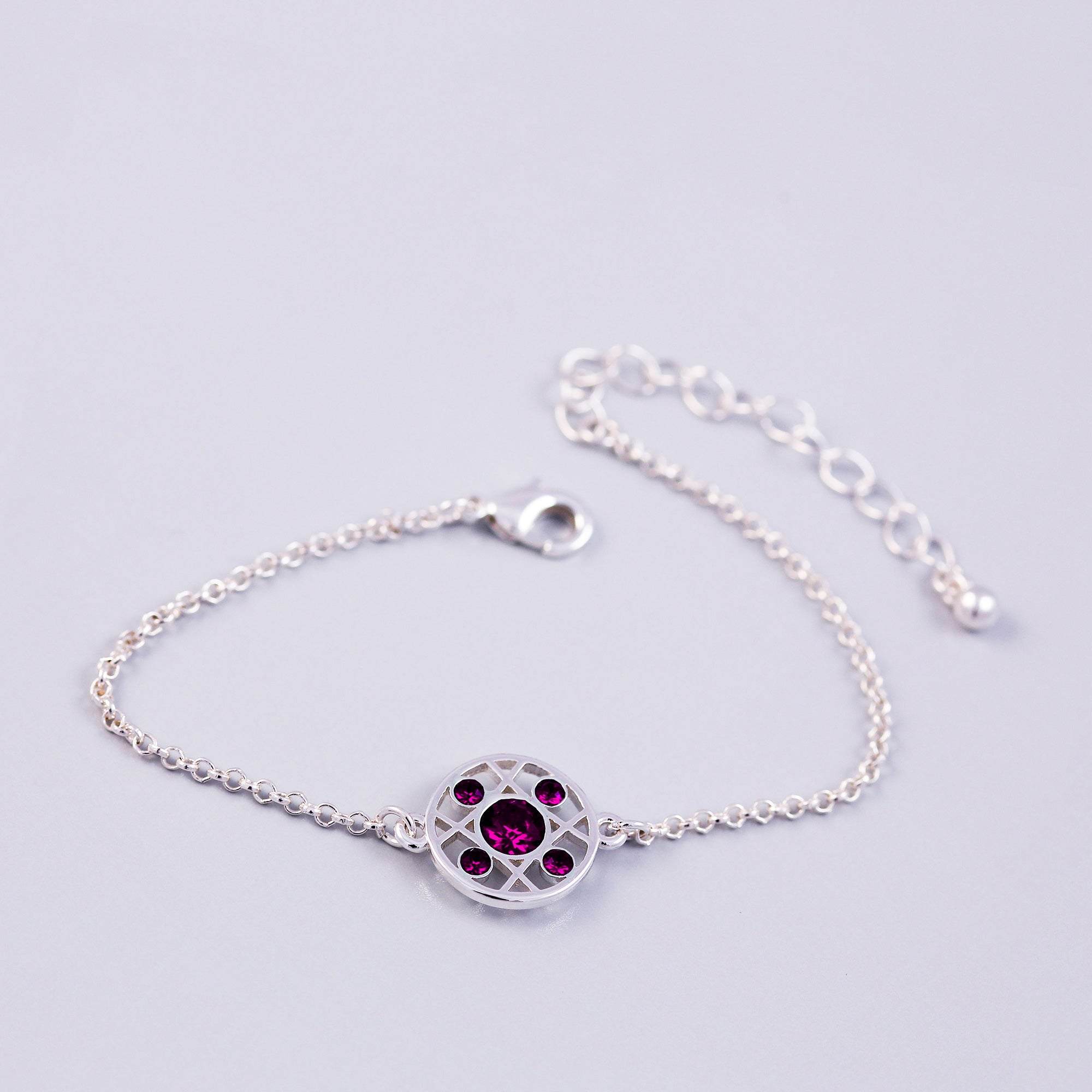 Silver Amethyst February Birthstone Hugs & Kisses Bracelet