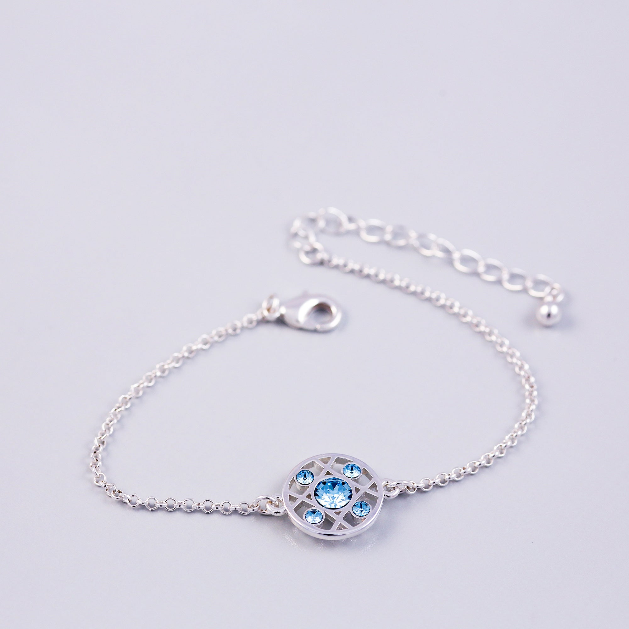 Silver Aquamarine March Birthstone Hugs & Kisses Bracelet