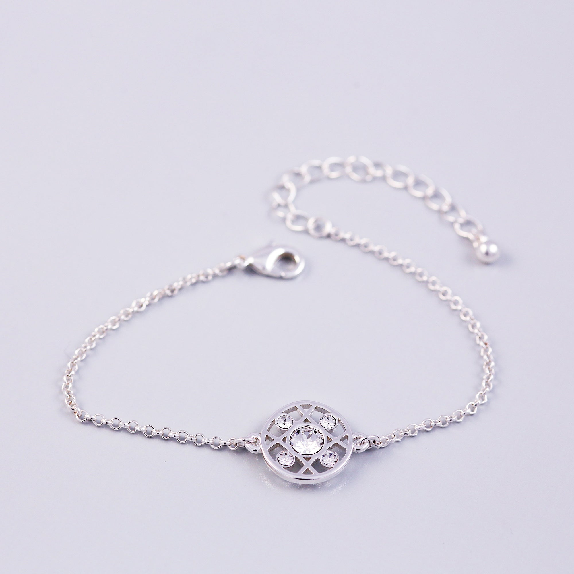 Silver Crystal April Birthstone Hugs & Kisses Bracelet