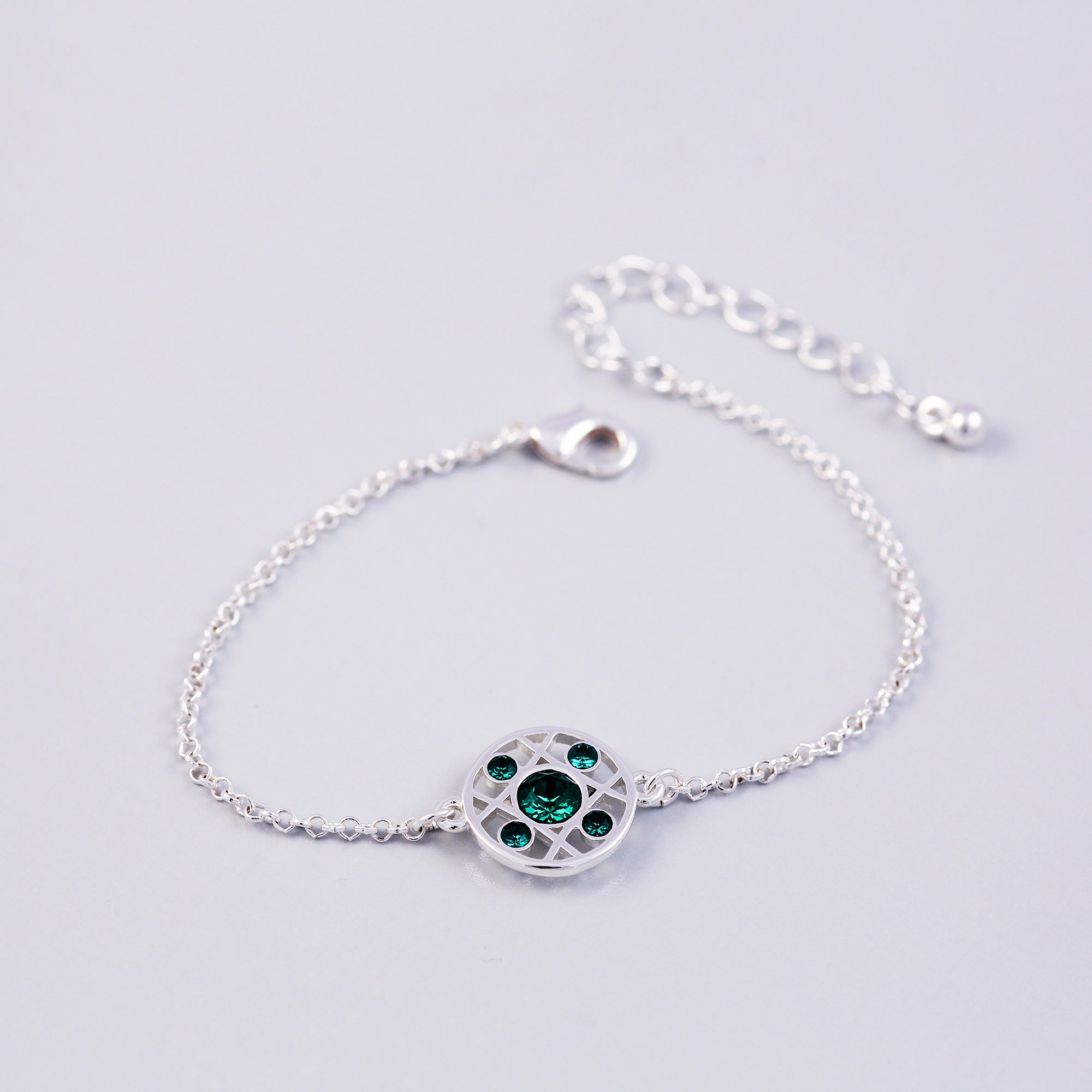 Silver Emerald May Birthstone Hugs & Kisses Bracelet