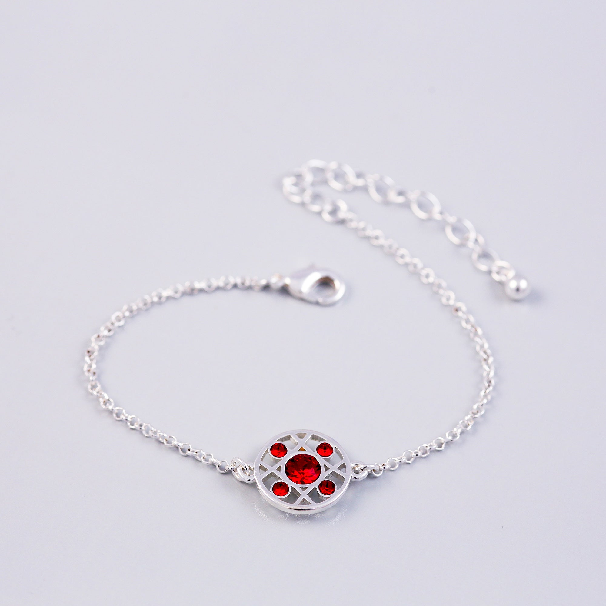 Silver Ruby July Birthstone Hugs & Kisses Bracelet