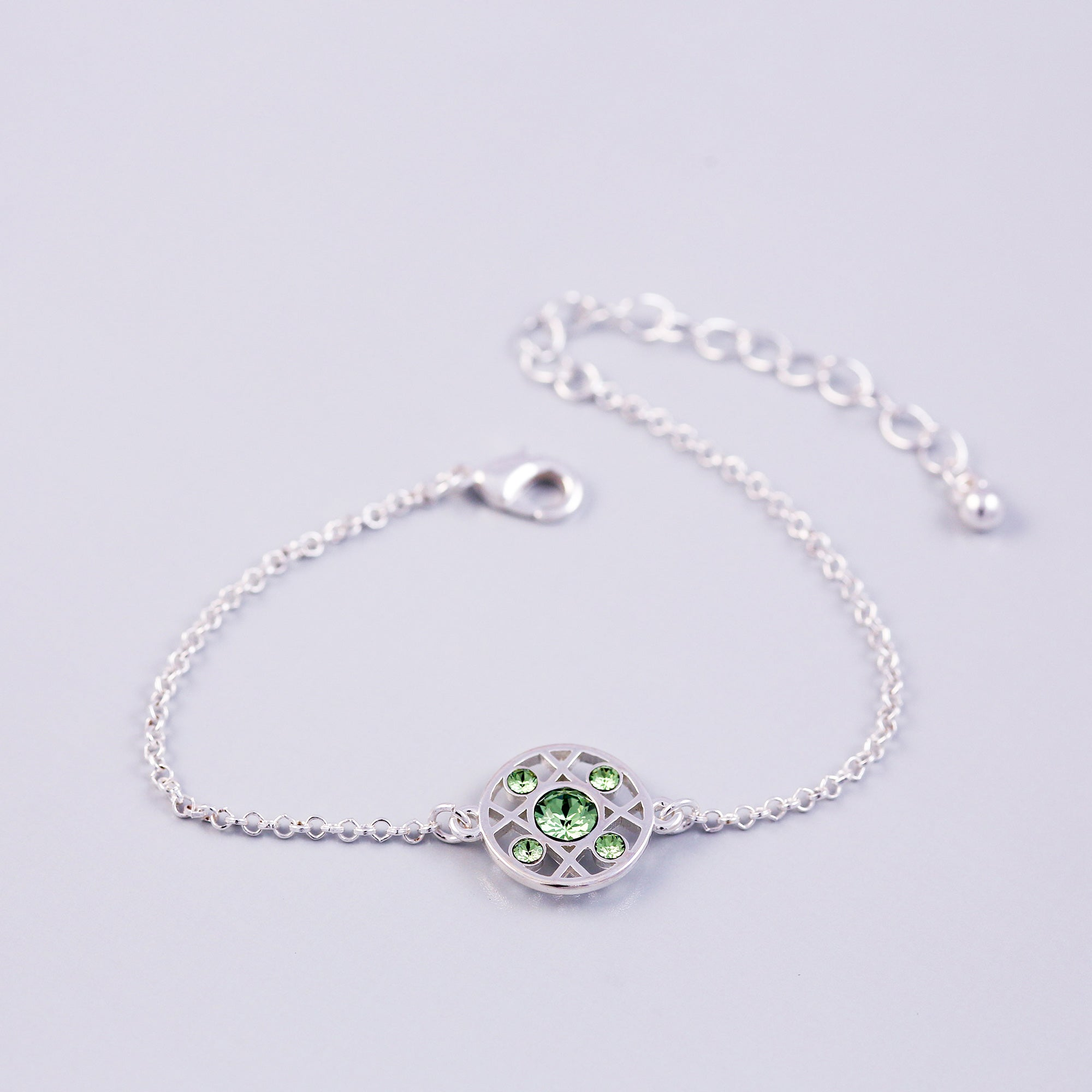 Silver Peridot August Birthstone Hugs & Kisses Bracelet