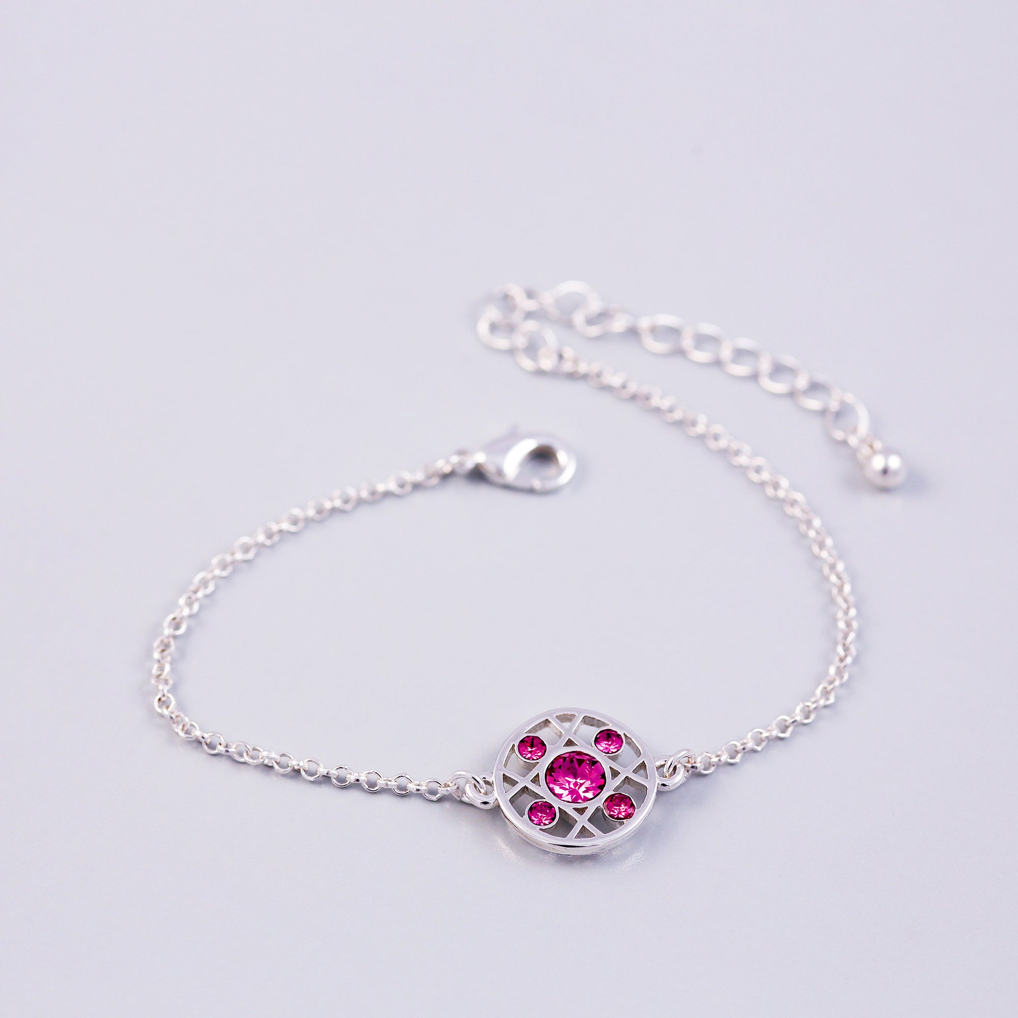 Silver Rose October Birthstone Hugs & Kisses Bracelet