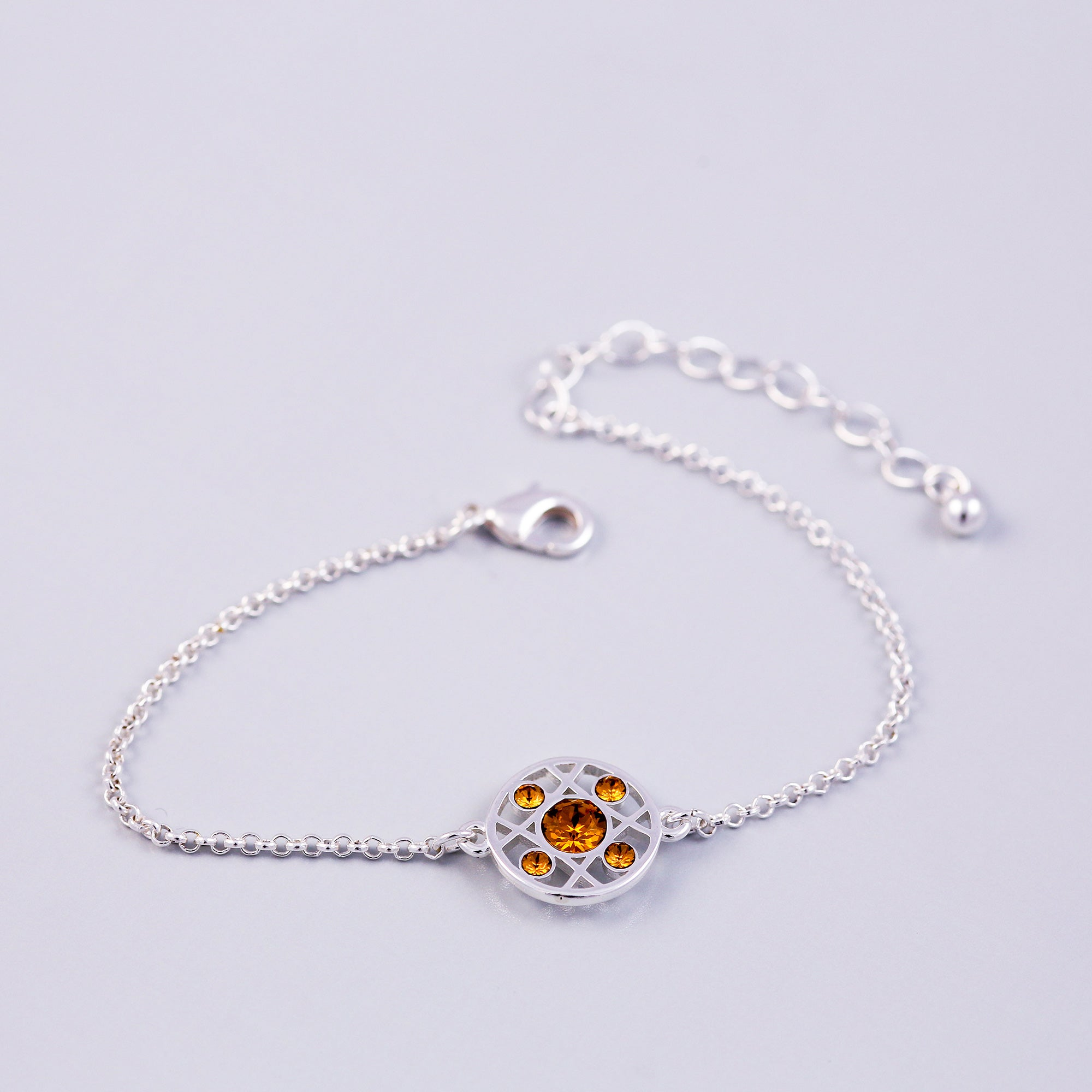 Silver Topaz November Birthstone Hugs & Kisses Bracelet