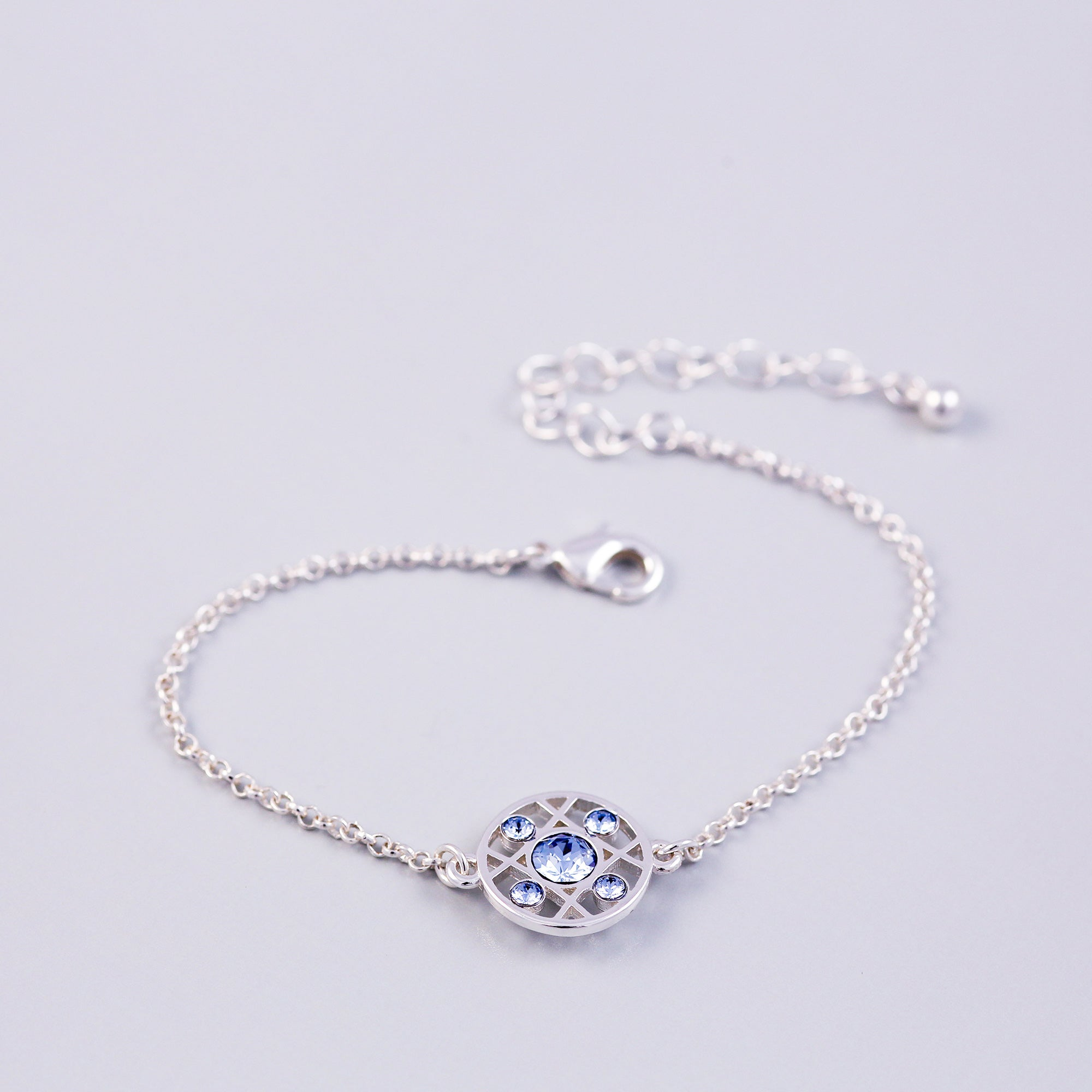 Silver Light Sapphire December Birthstone Hugs & Kisses Bracelet