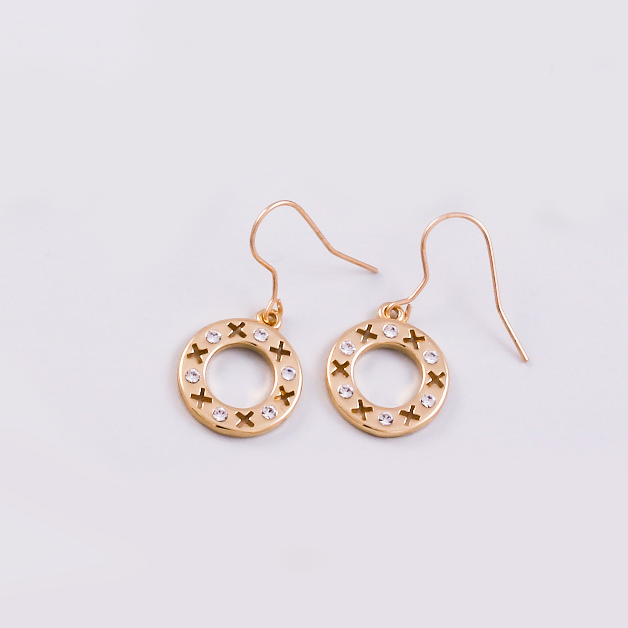 Gold & Crystal Circle XOXO Earrings