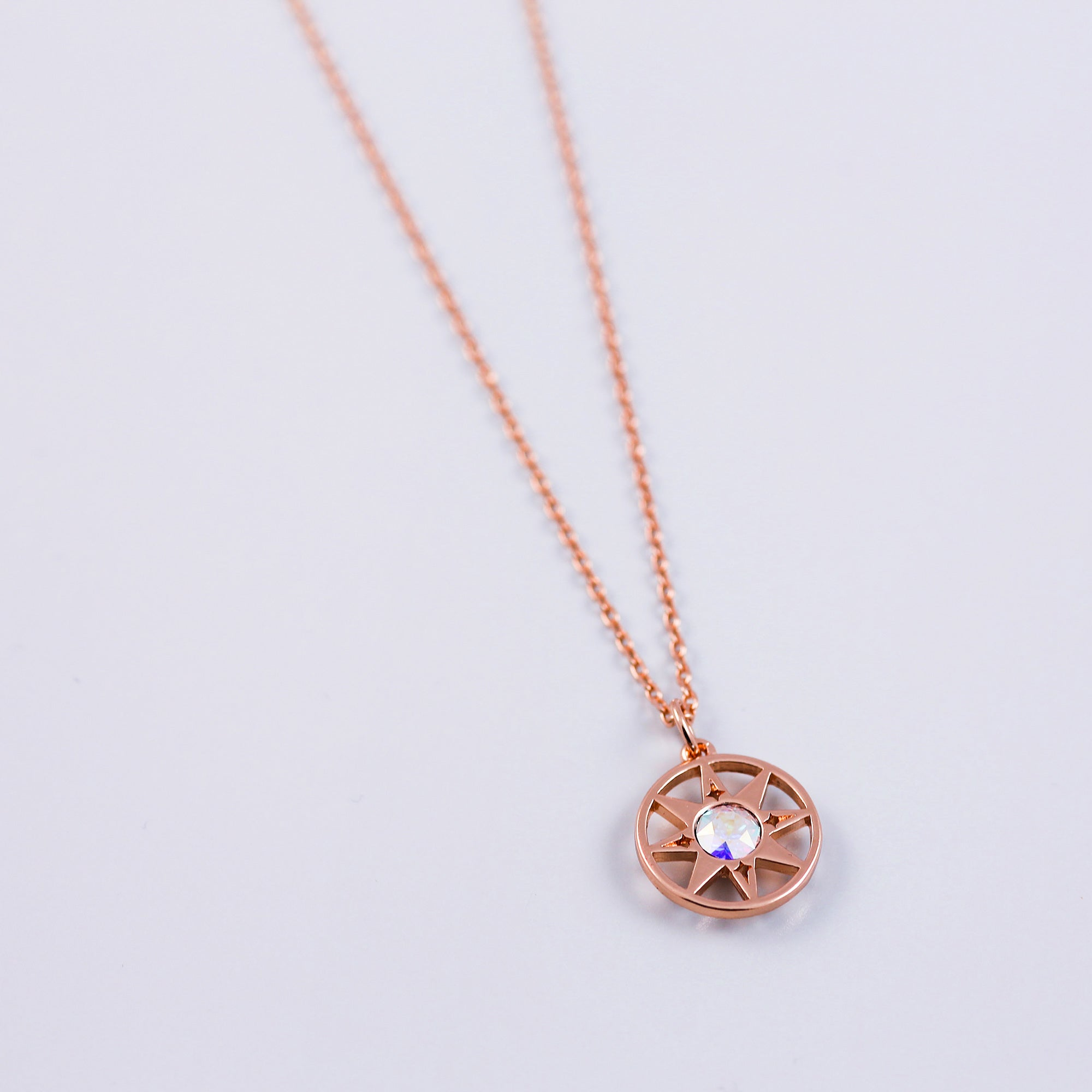 Rose Gold & Crystal AB Compass North Star Necklace