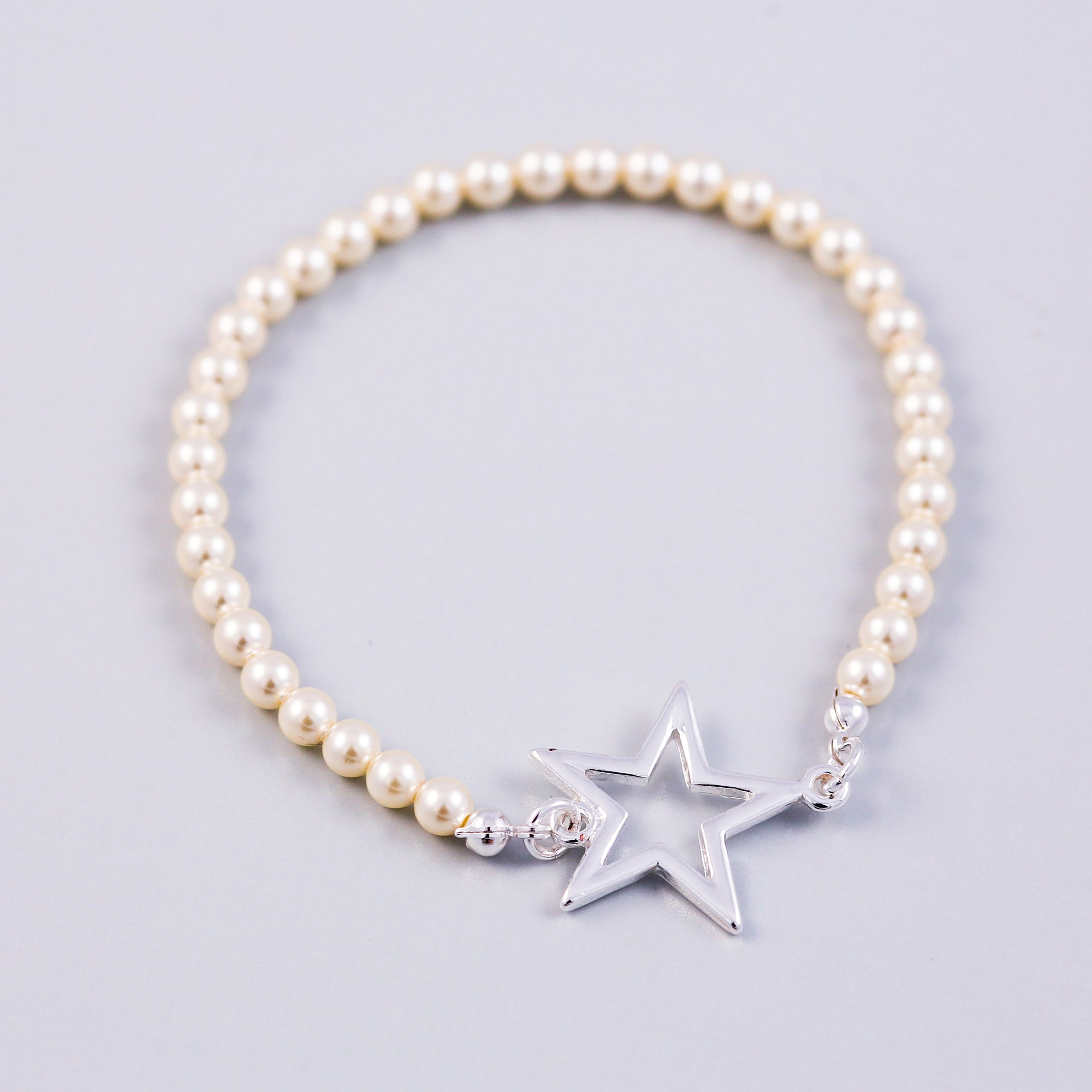 Silver Outline Star & Cream Pearl Bridal Bracelet