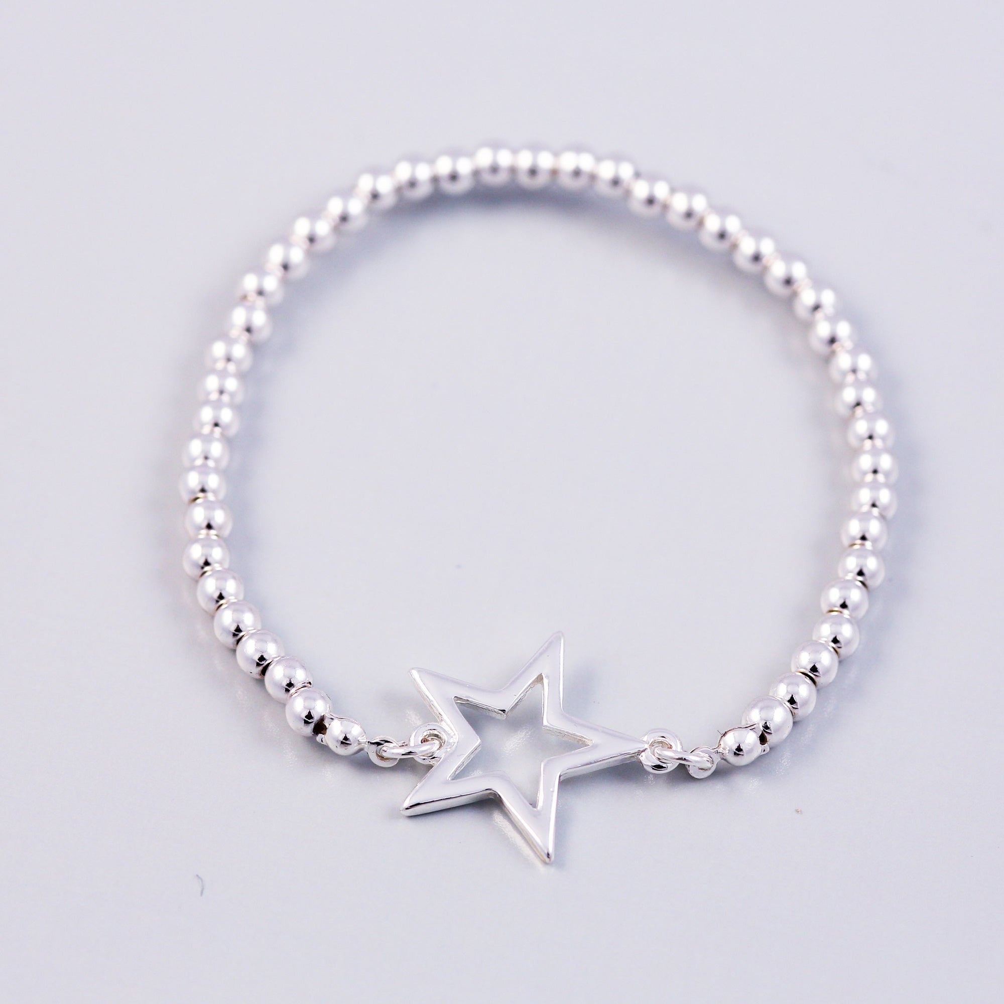 Silver Outline Star & Metallic Bead Bridal Bracelet