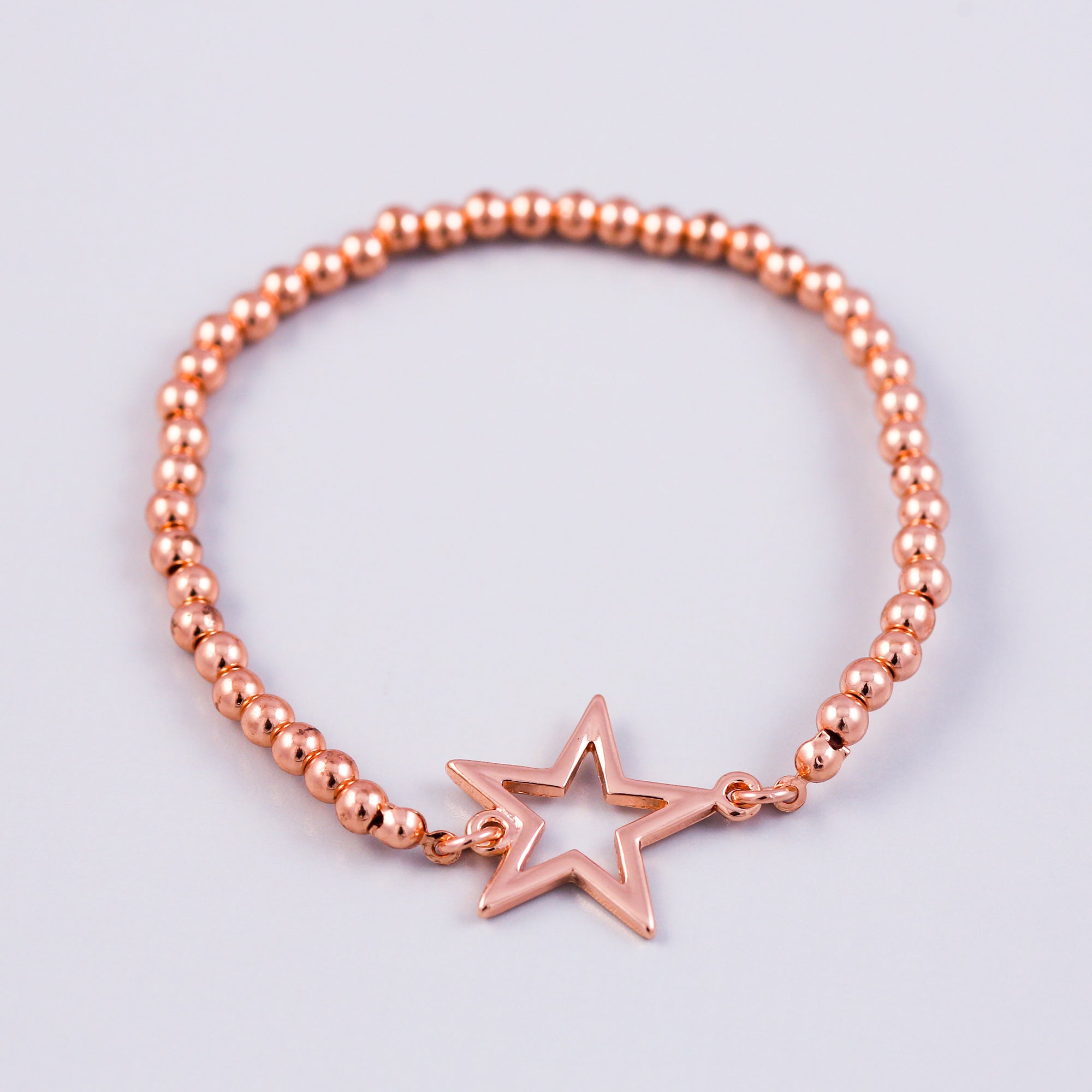 Rose Gold Outline Star & Metallic Bead Bridal Bracelet