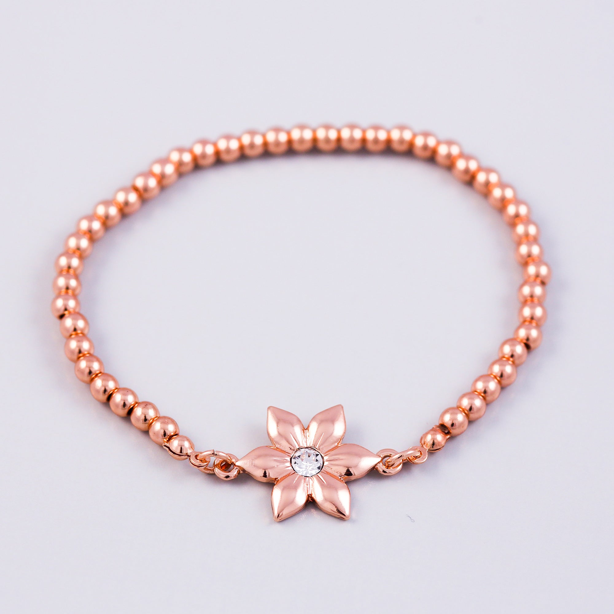 Rose Gold Flower & Metallic Bead Bridal Bracelet