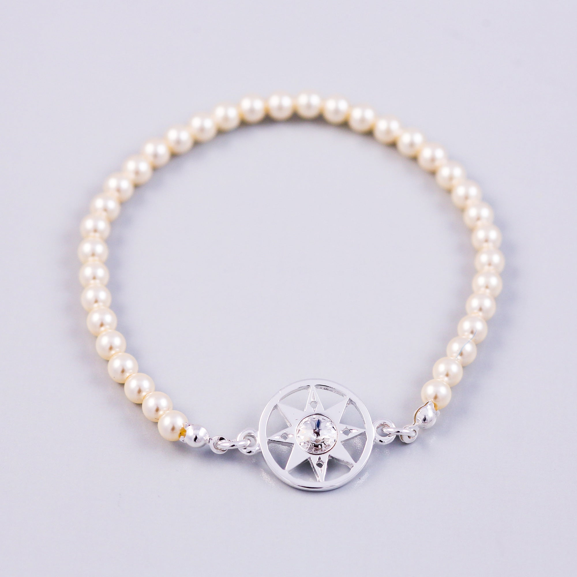 Compass Bracelet | Bridal Jewellery | Silver & Cream Pearl