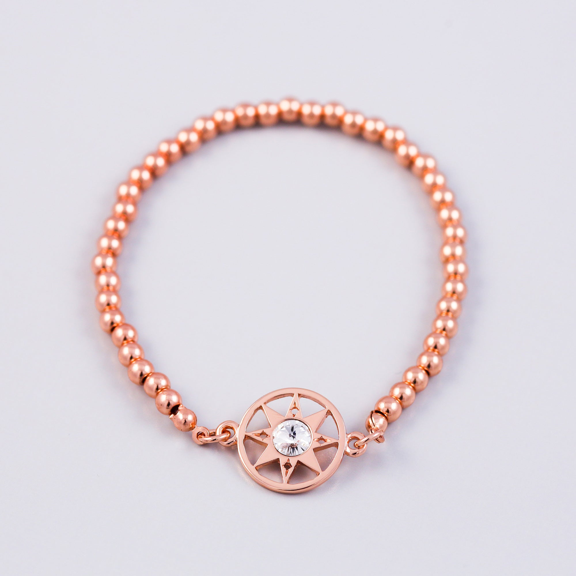 Rose Gold Compass & Metallic Bead Bridal Bracelet