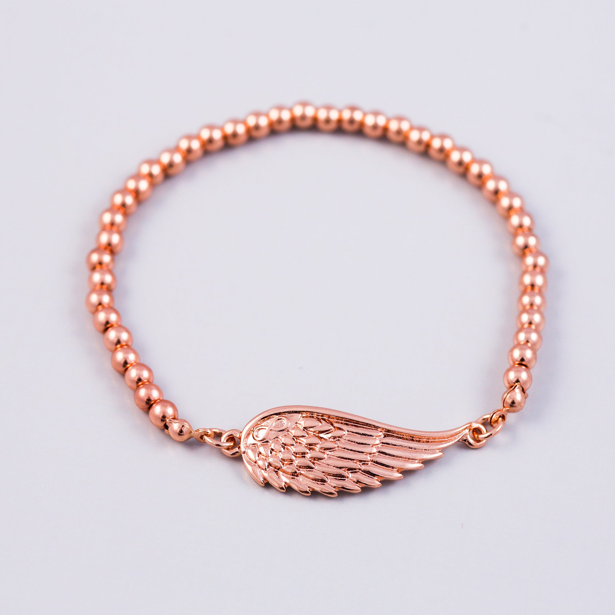 Rose Gold Angel Wing & Metallic Bead Bridal Bracelet
