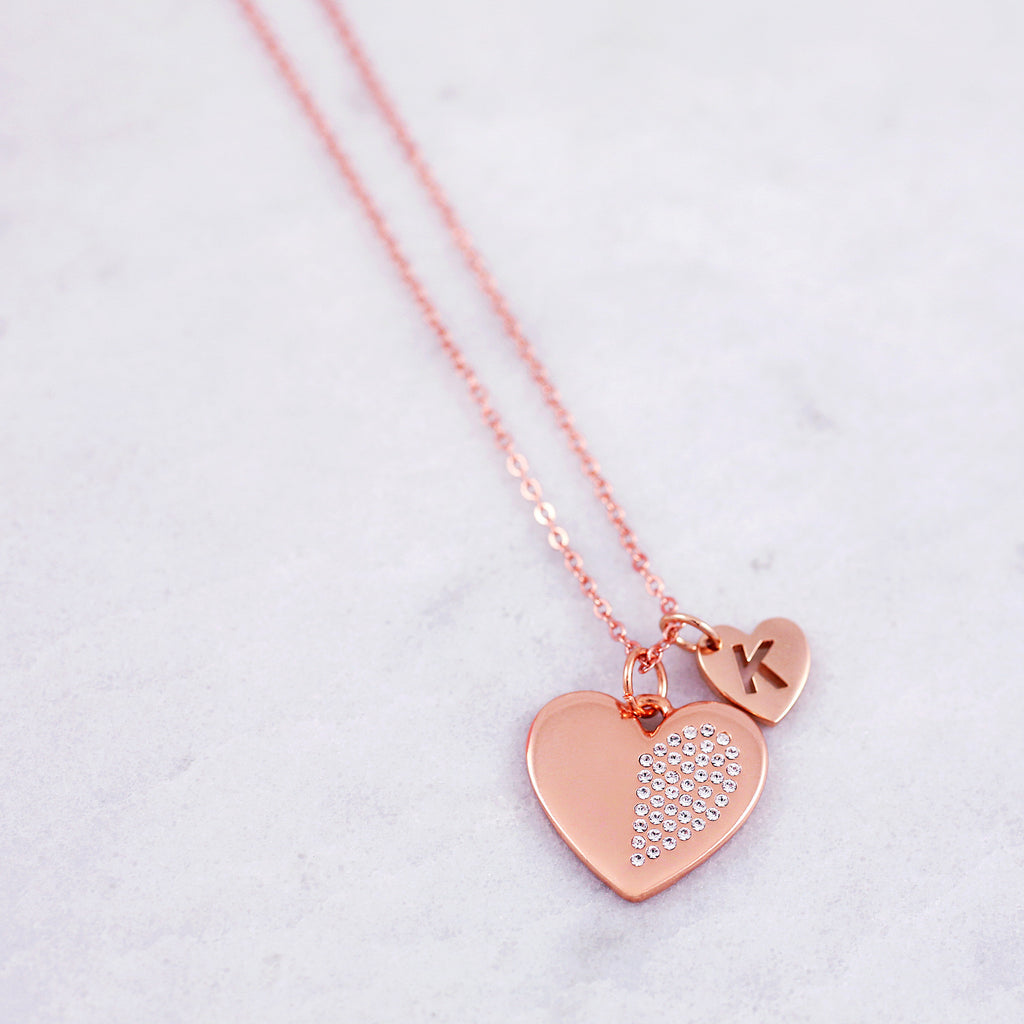 Personalised Friendship Necklaces | Crystal Hearts | Matching Sets ...