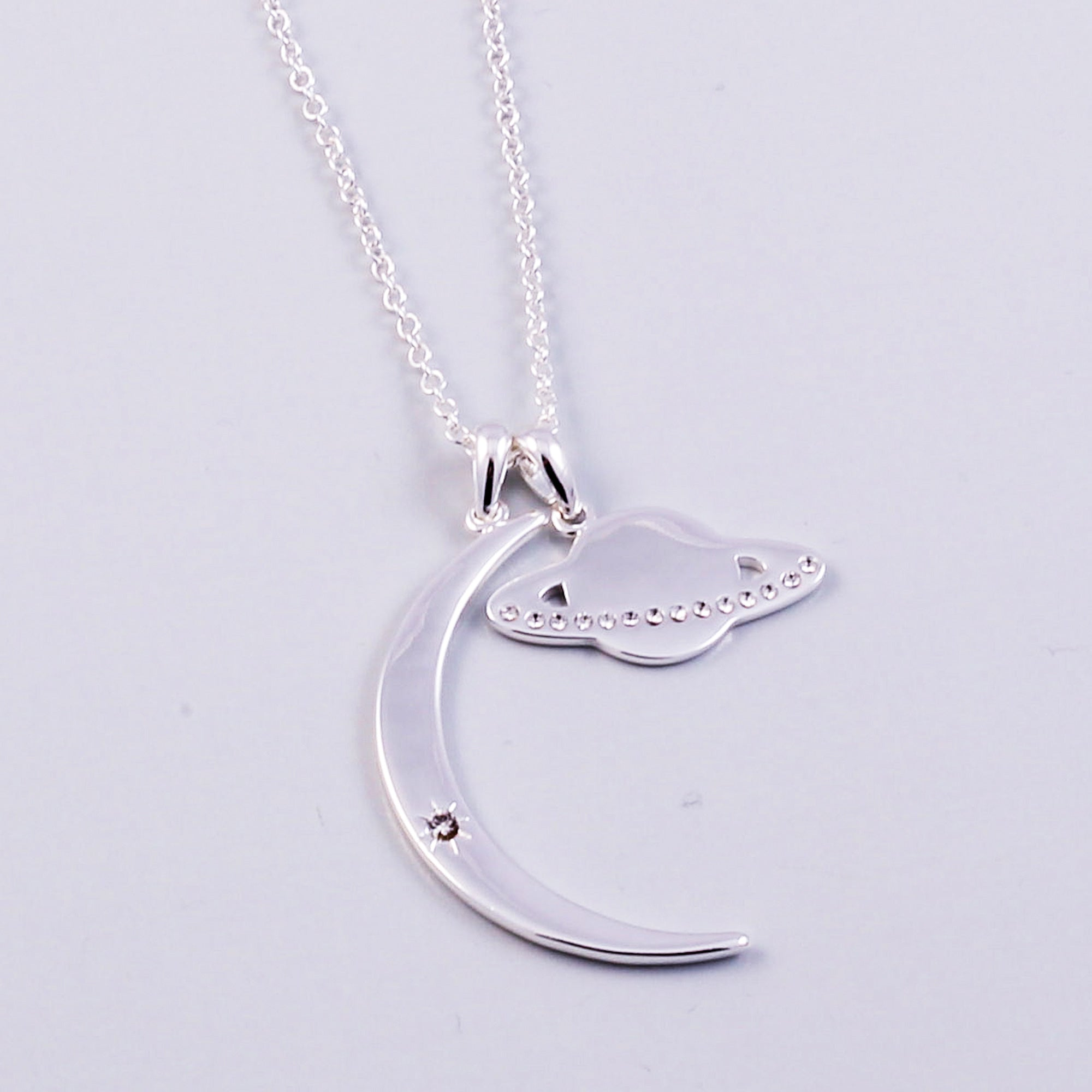 Silver Moon & Planet Necklace