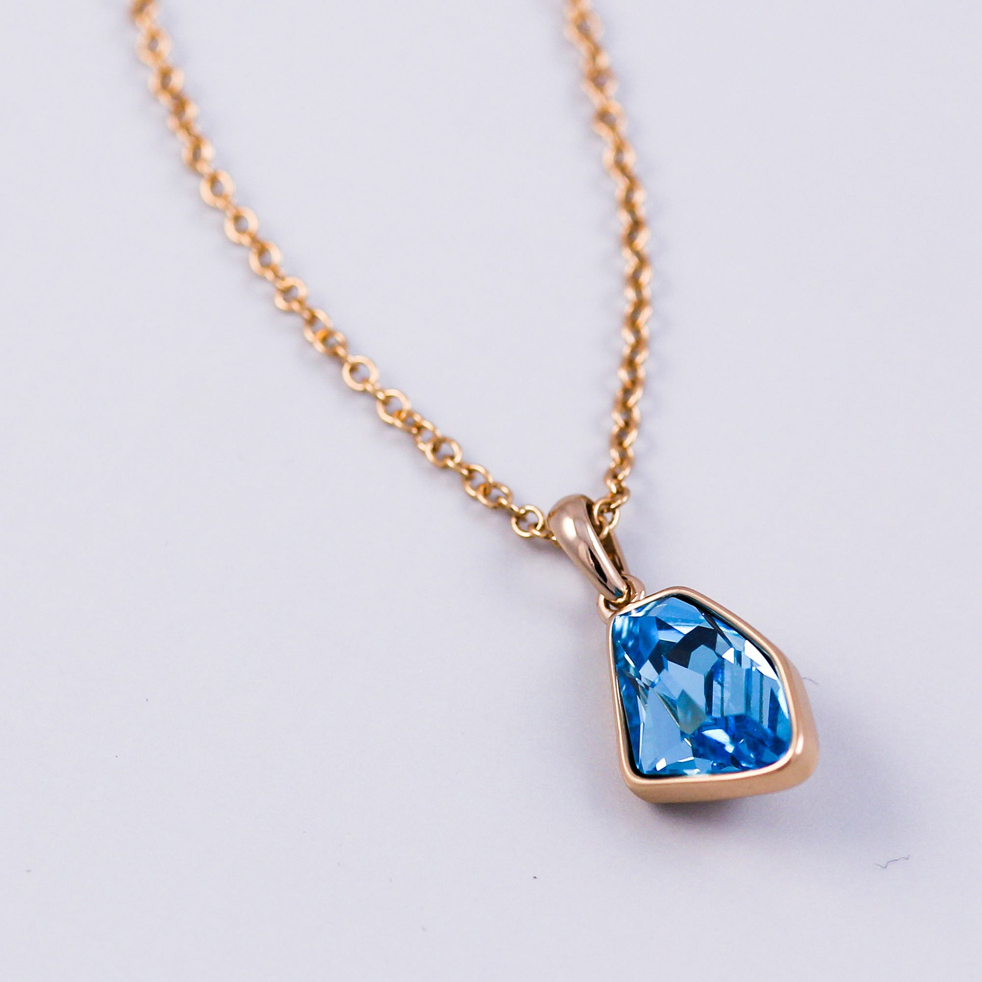 Gold & Aquamarine Crystal Asteroid Necklace