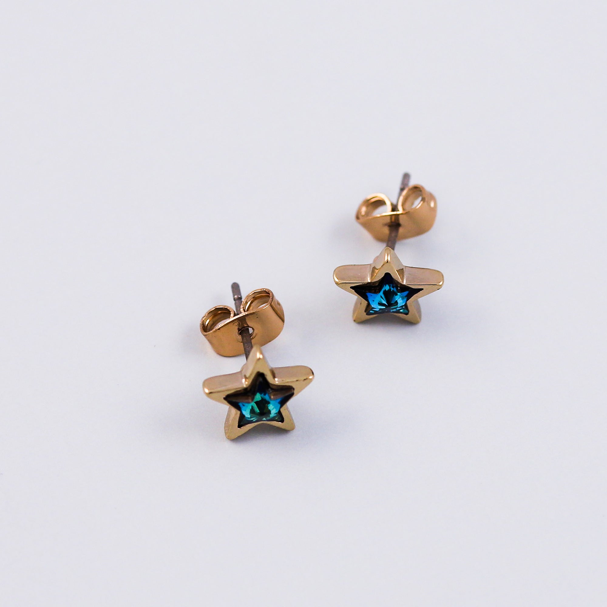 Gold & Blue Crystal Star Stud Earrings