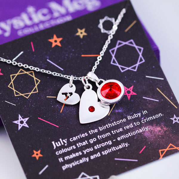 July Birthstone Necklace in Ruby