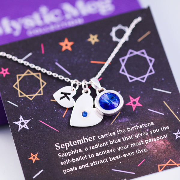 September Birthstone Necklace in Sapphire