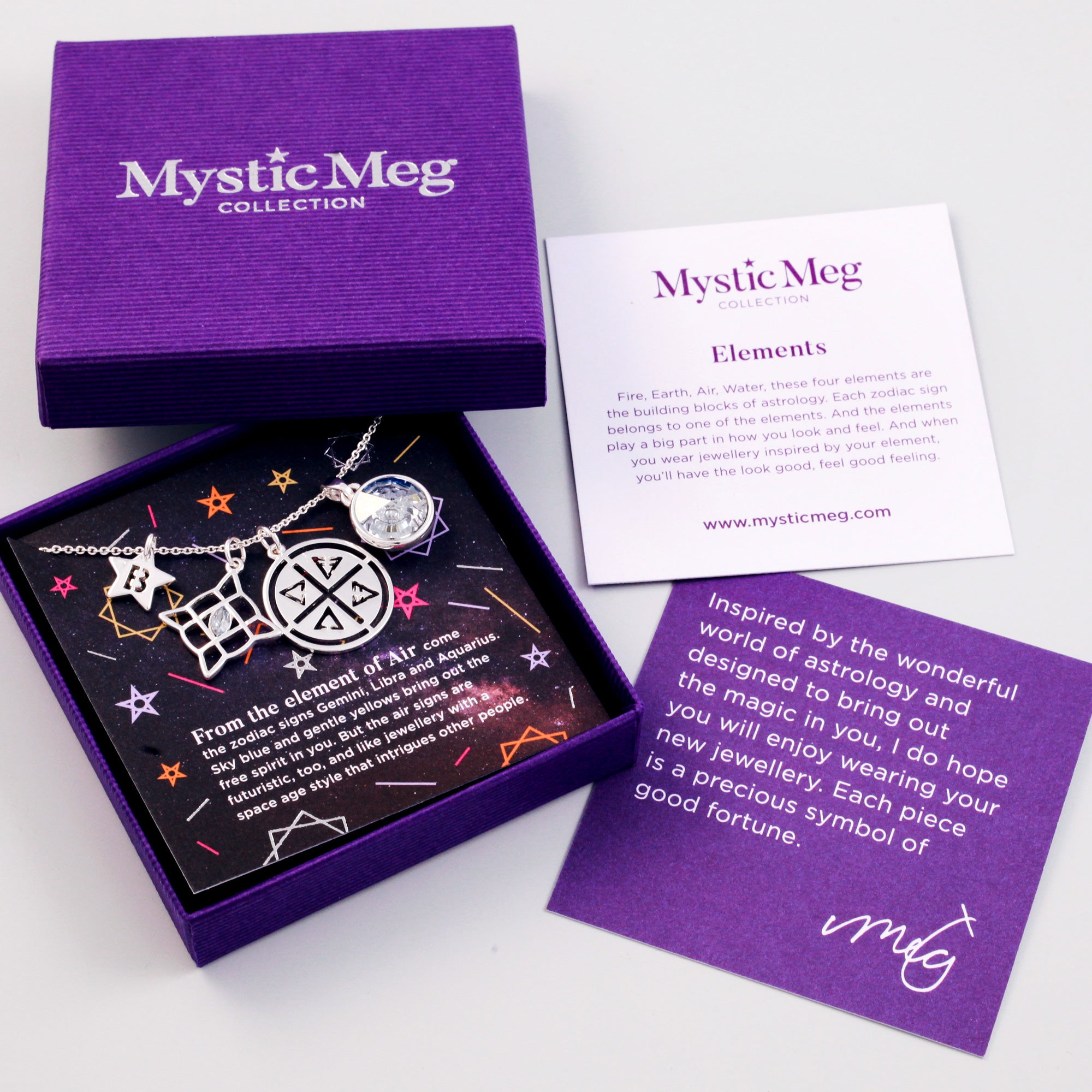 Four Elements Charm Necklace in Air - Mystic Meg Collection