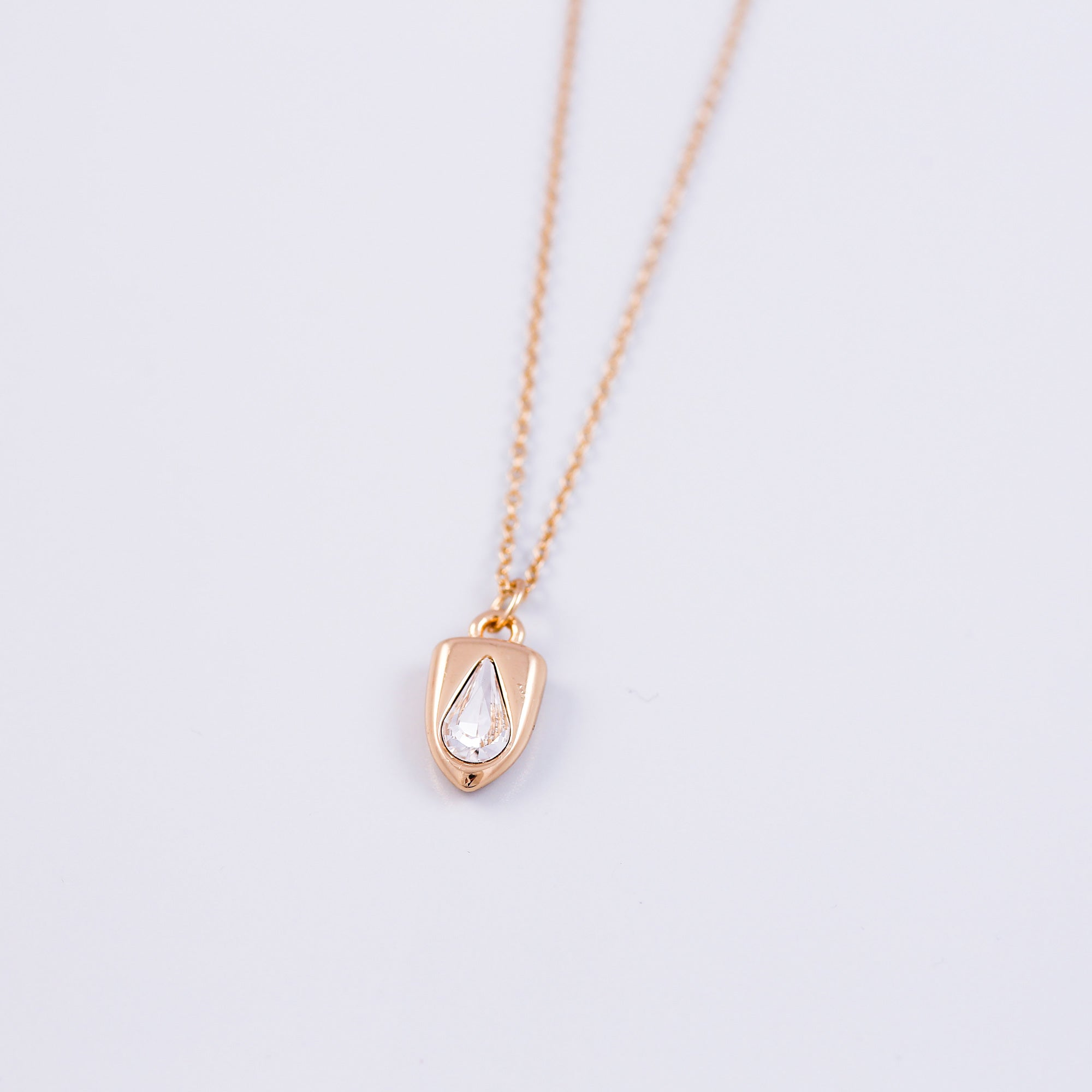 Gold & Crystal Teardrop Shield Necklace