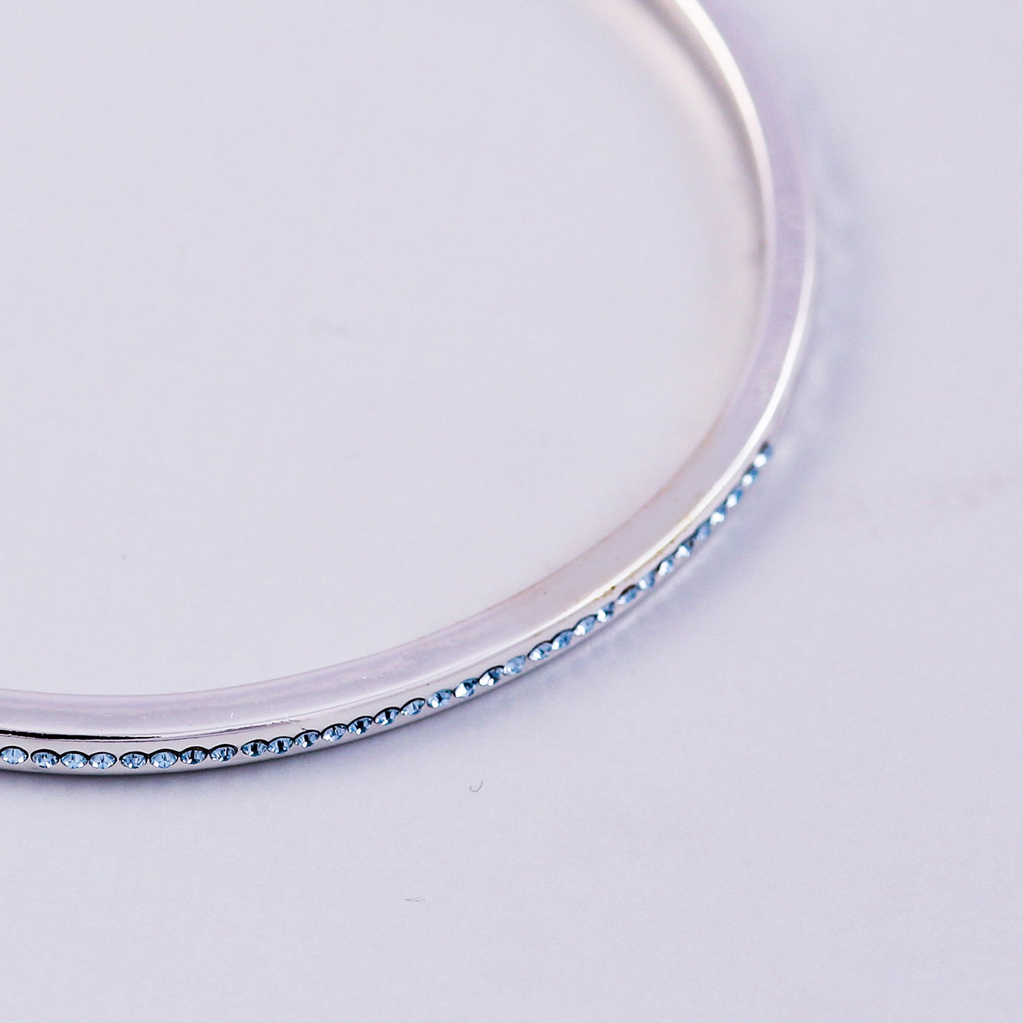 March Birthstone Bangle | Silver Bangle | Birthstone
