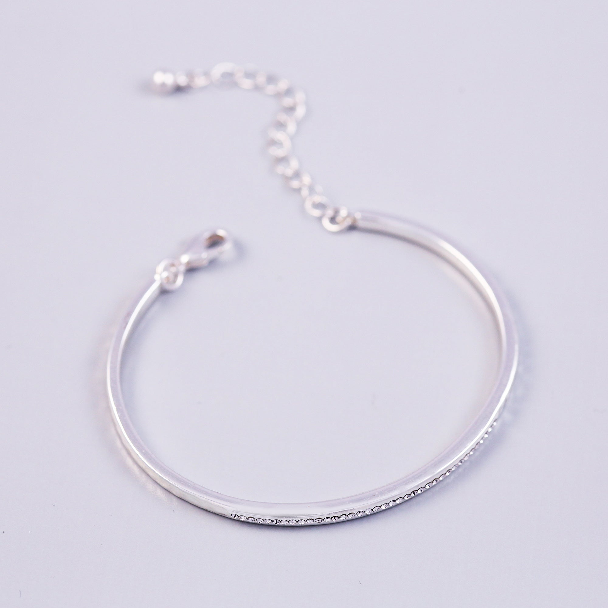 Silver Crystal April Birthstone Bangle