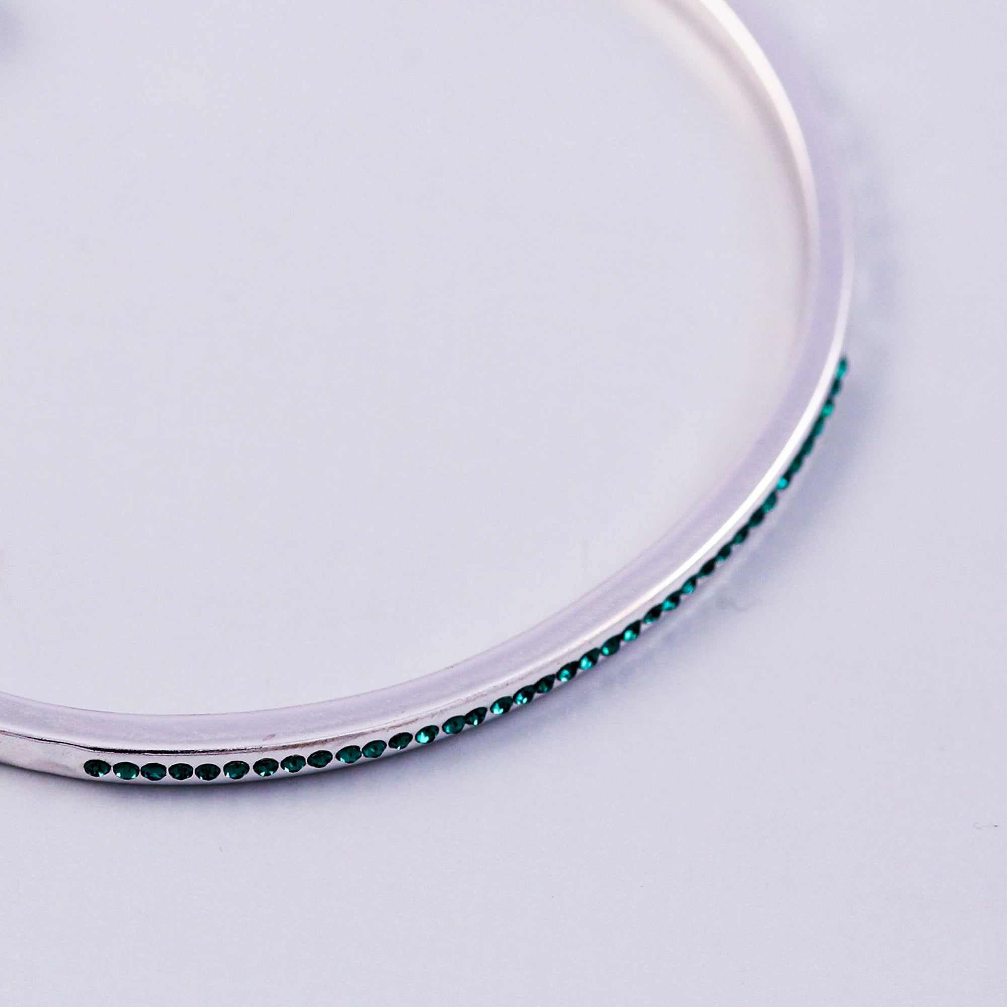 Silver Emerald May Birthstone Bangle
