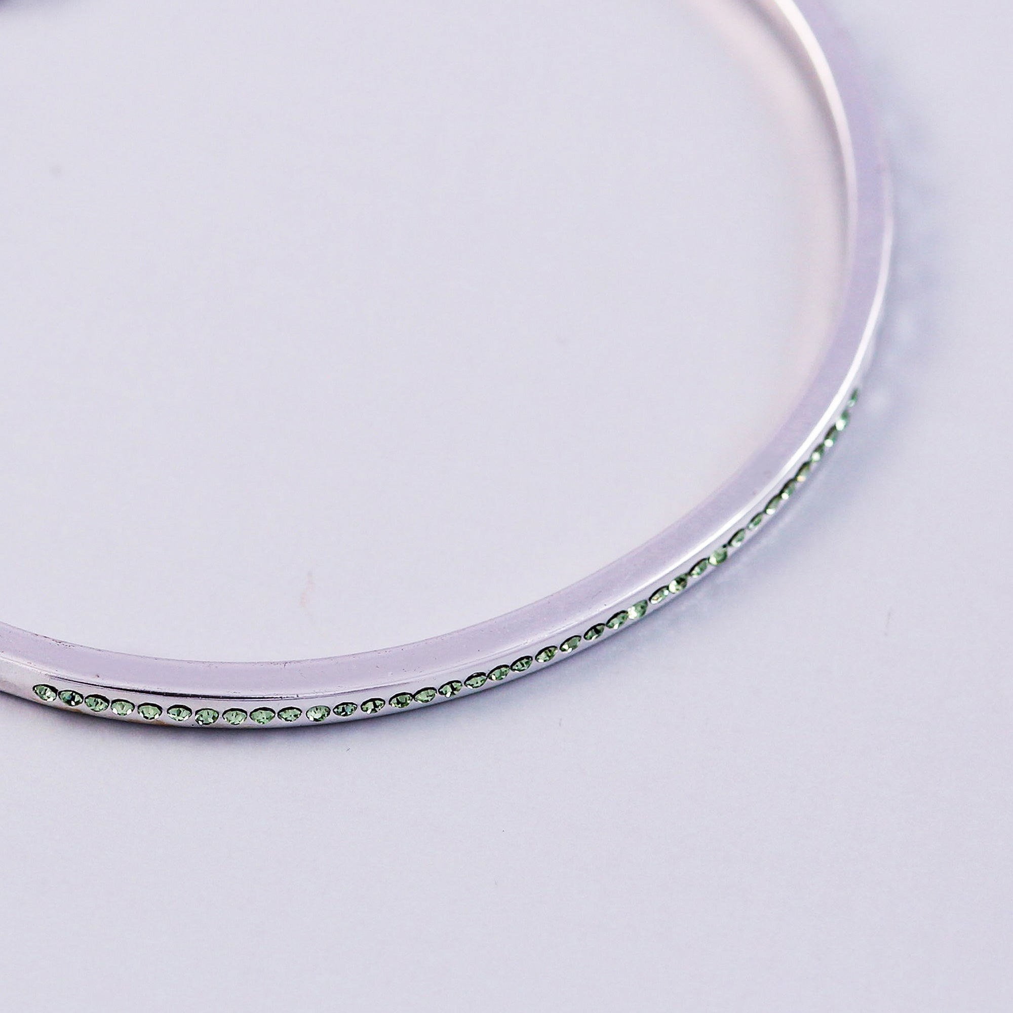 Silver Peridot August Birthstone Bangle
