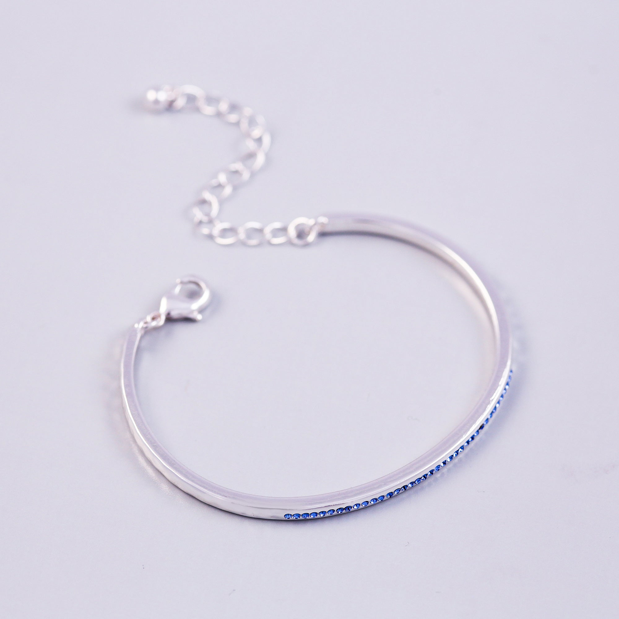 Silver Sapphire September Birthstone Bangle
